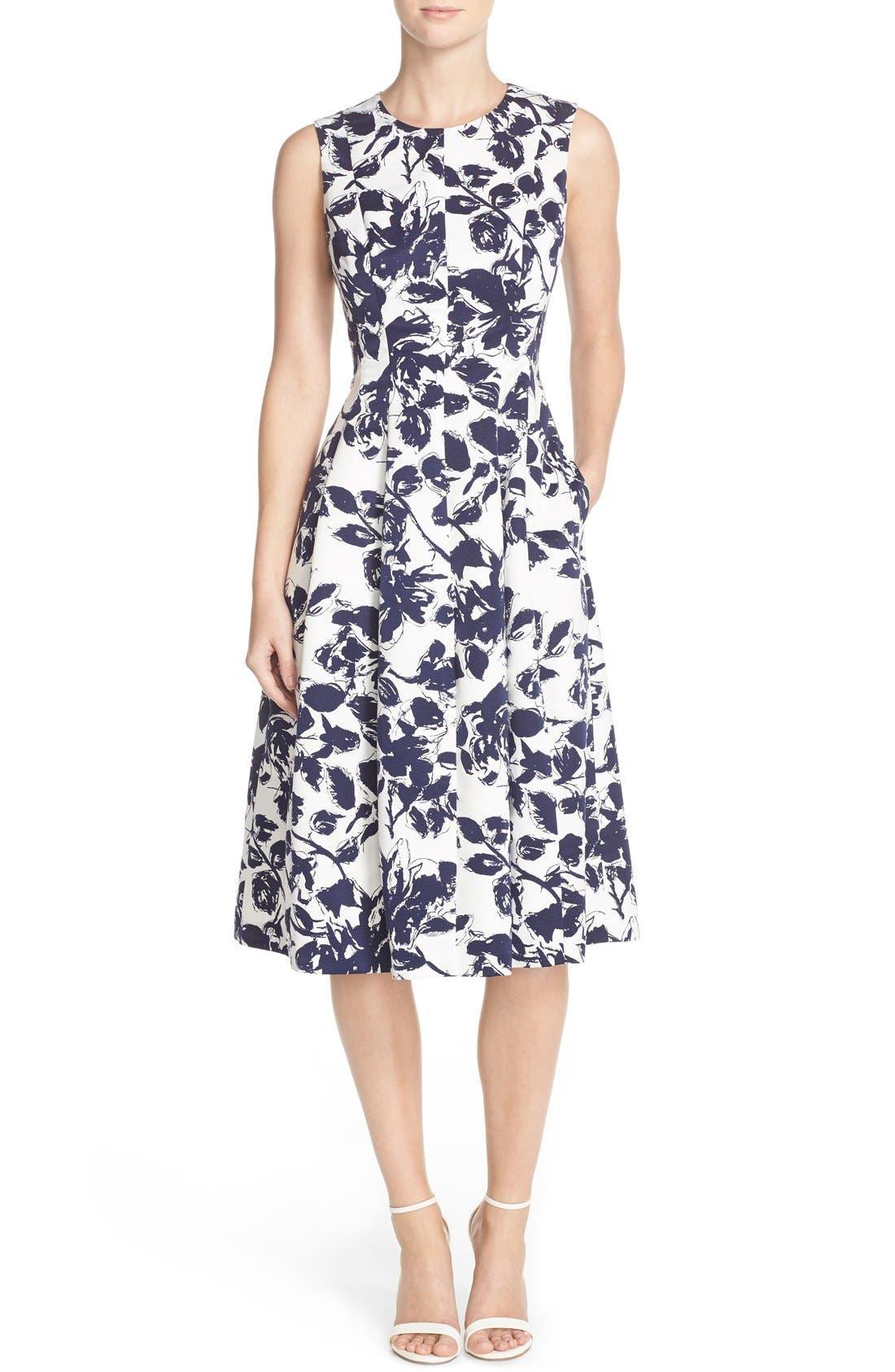 Floral Print Faille Midi Dress,                         Main,                         color, Navy/ Ivory