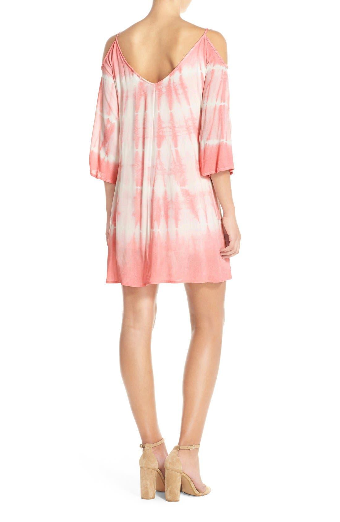 Alternate Image 2  - Fraiche by J Tie Dye Crepe Cold Shoulder Dress