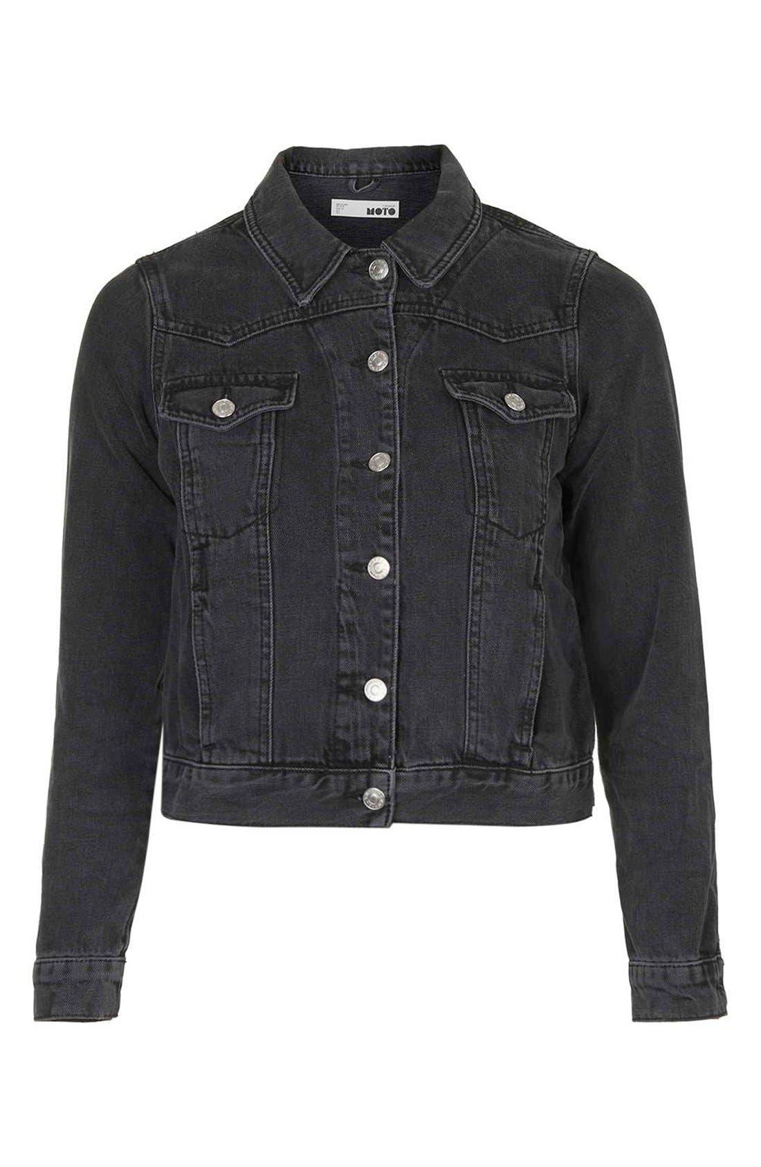 Alternate Image 6  - Topshop Moto 'Tilda' Washed Denim Jacket (Black)