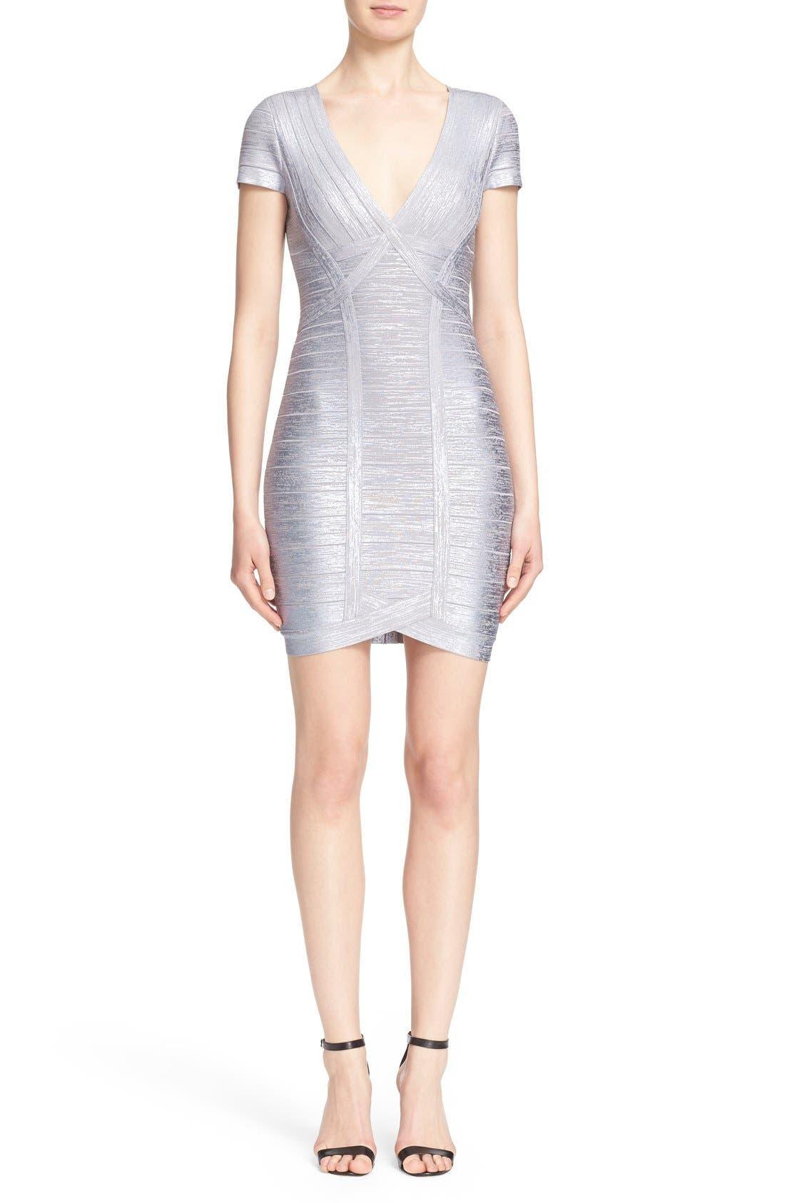 Main Image - Herve Leger 'Klaudia' Woodgrain Metallic Foil Dress