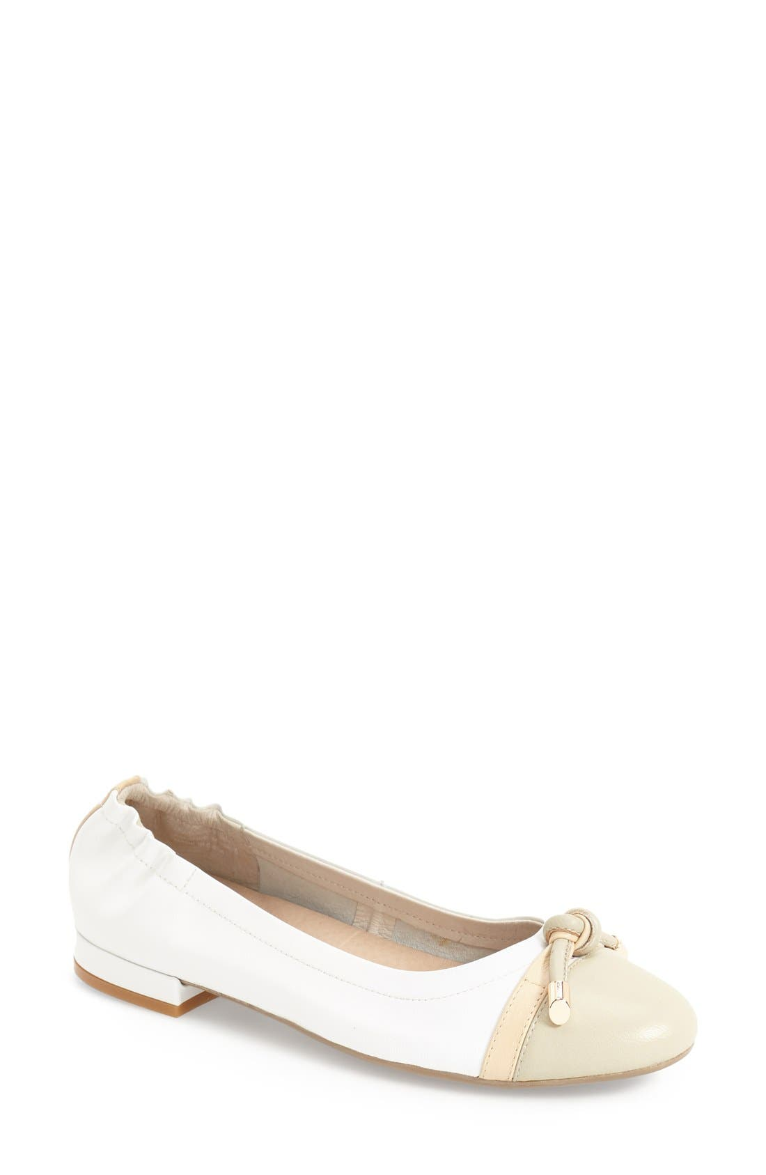 'Amelia' Flat,                             Main thumbnail 1, color,                             White Nappa Leather