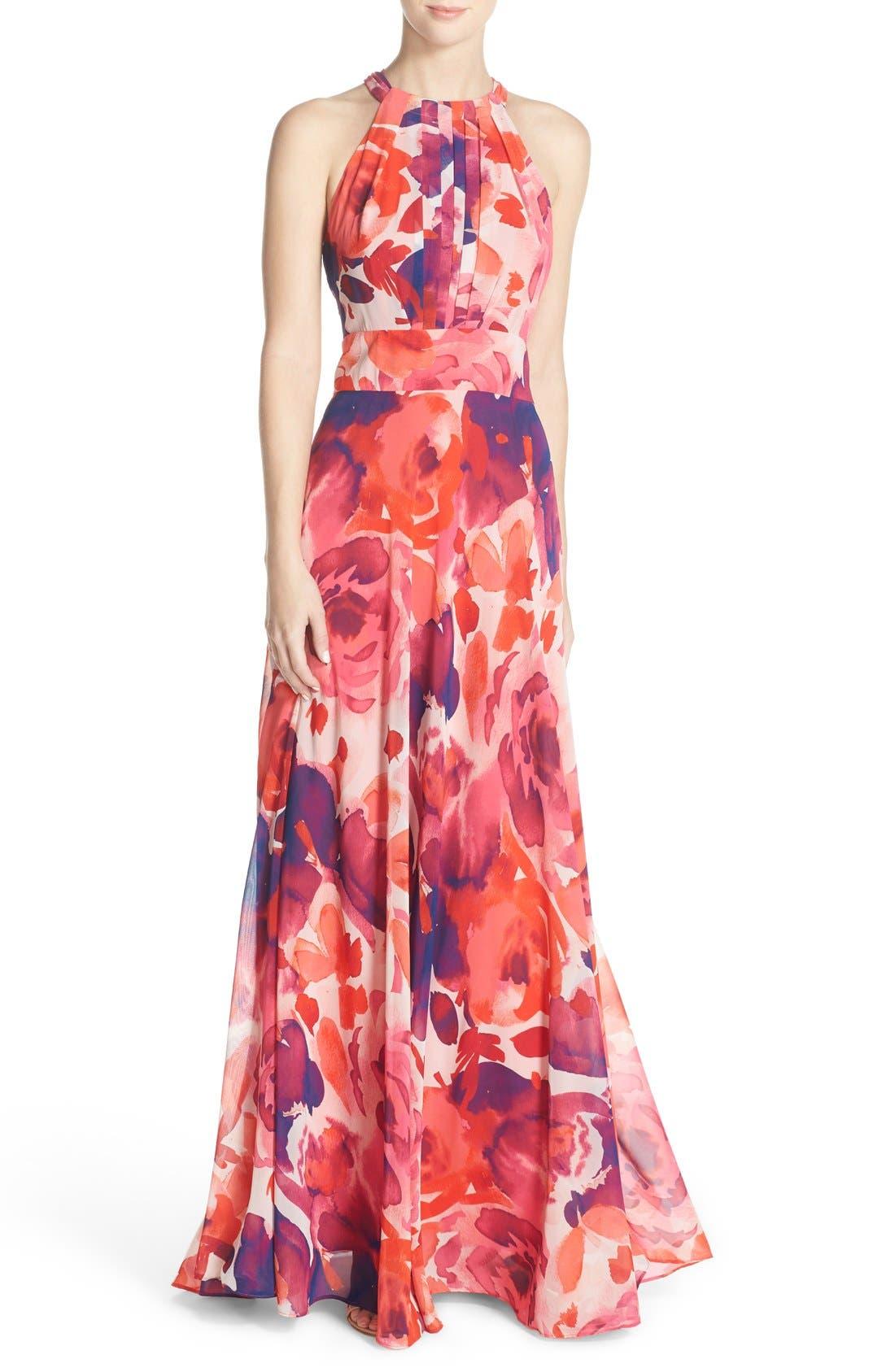 Floral Print Halter Maxi Dress,                             Main thumbnail 1, color,                             Pink/ Coral/ Purple