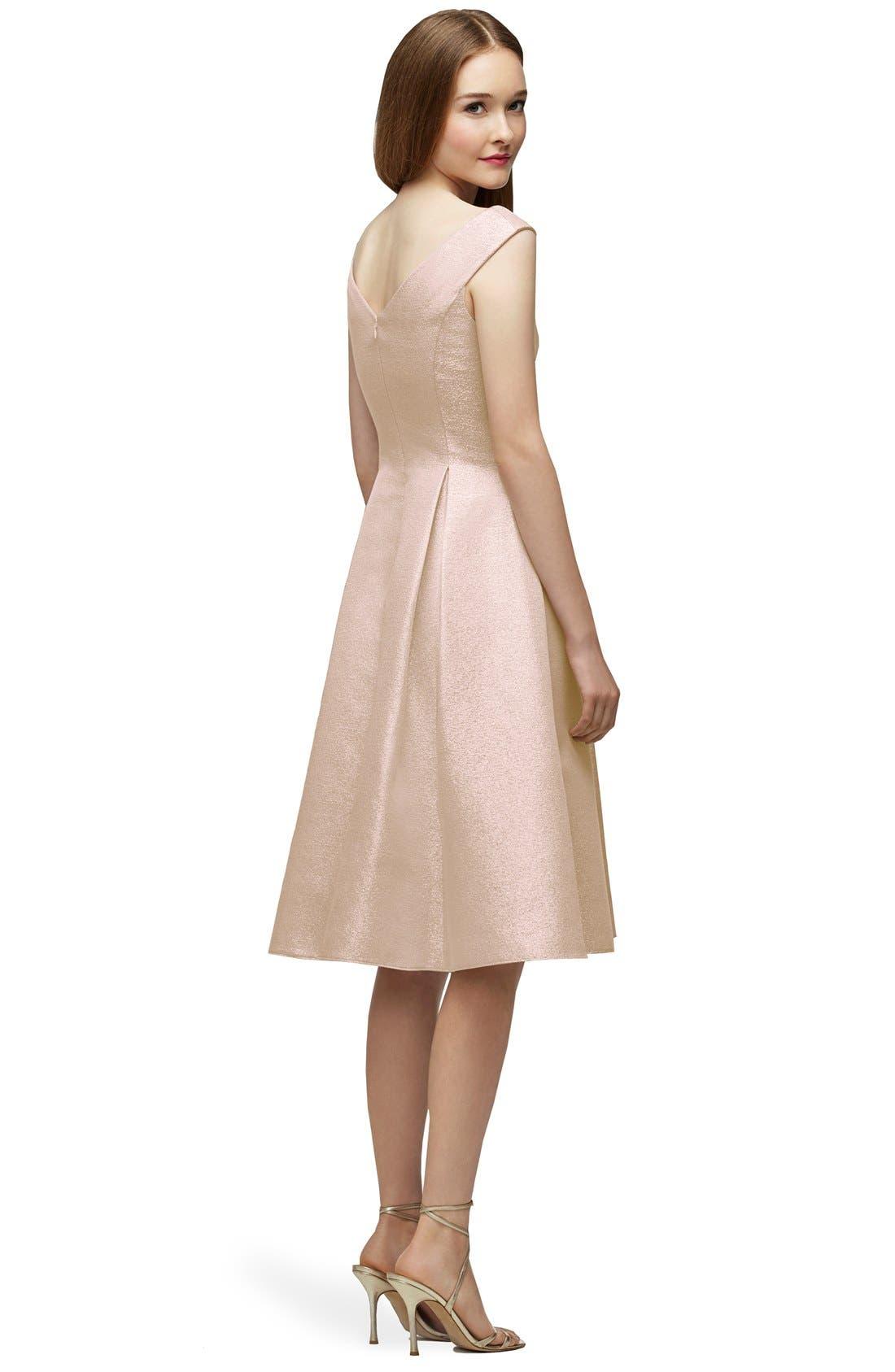 Alternate Image 2  - Lela Rose Bridesmaid Portrait Neck Metallic Fit & Flare Dress
