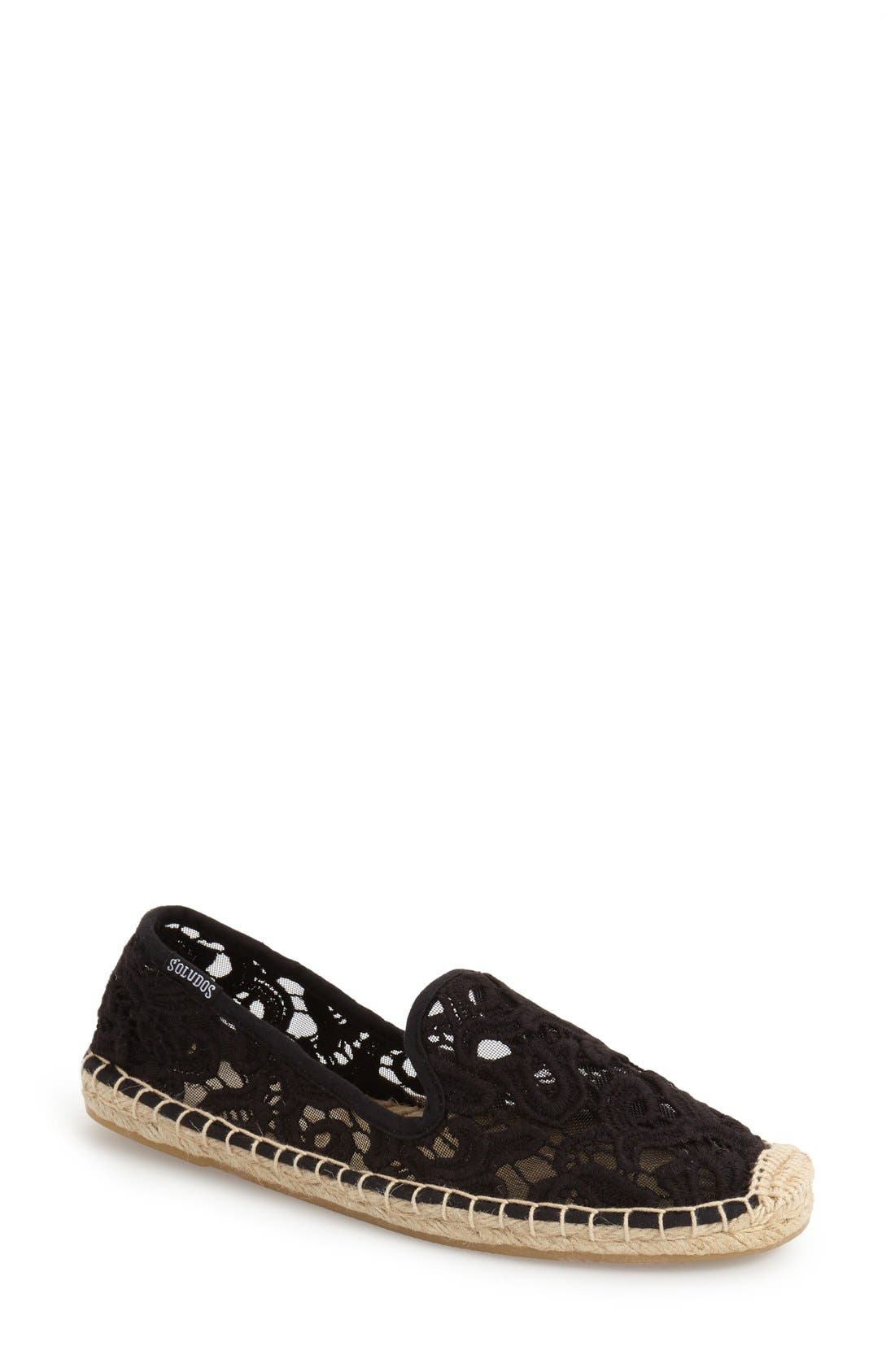 Lace Espadrille Slip-On,                             Main thumbnail 1, color,                             Black