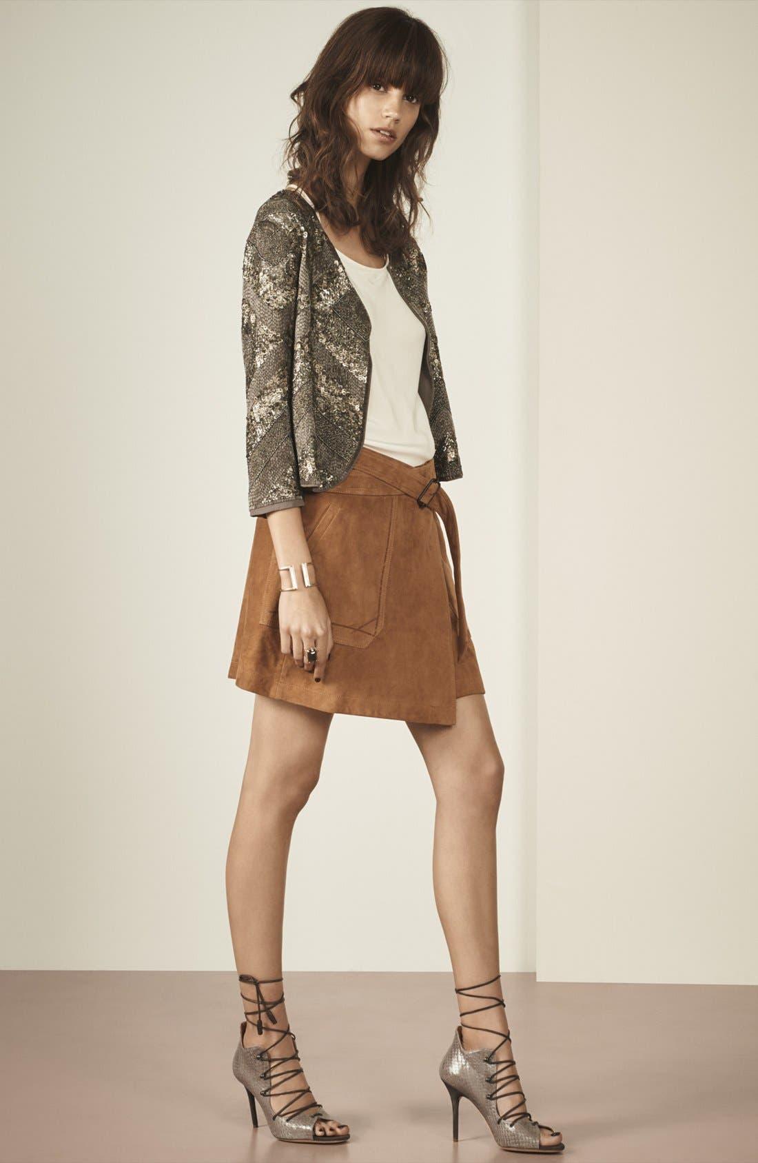 Suede Wrap Miniskirt,                             Alternate thumbnail 2, color,