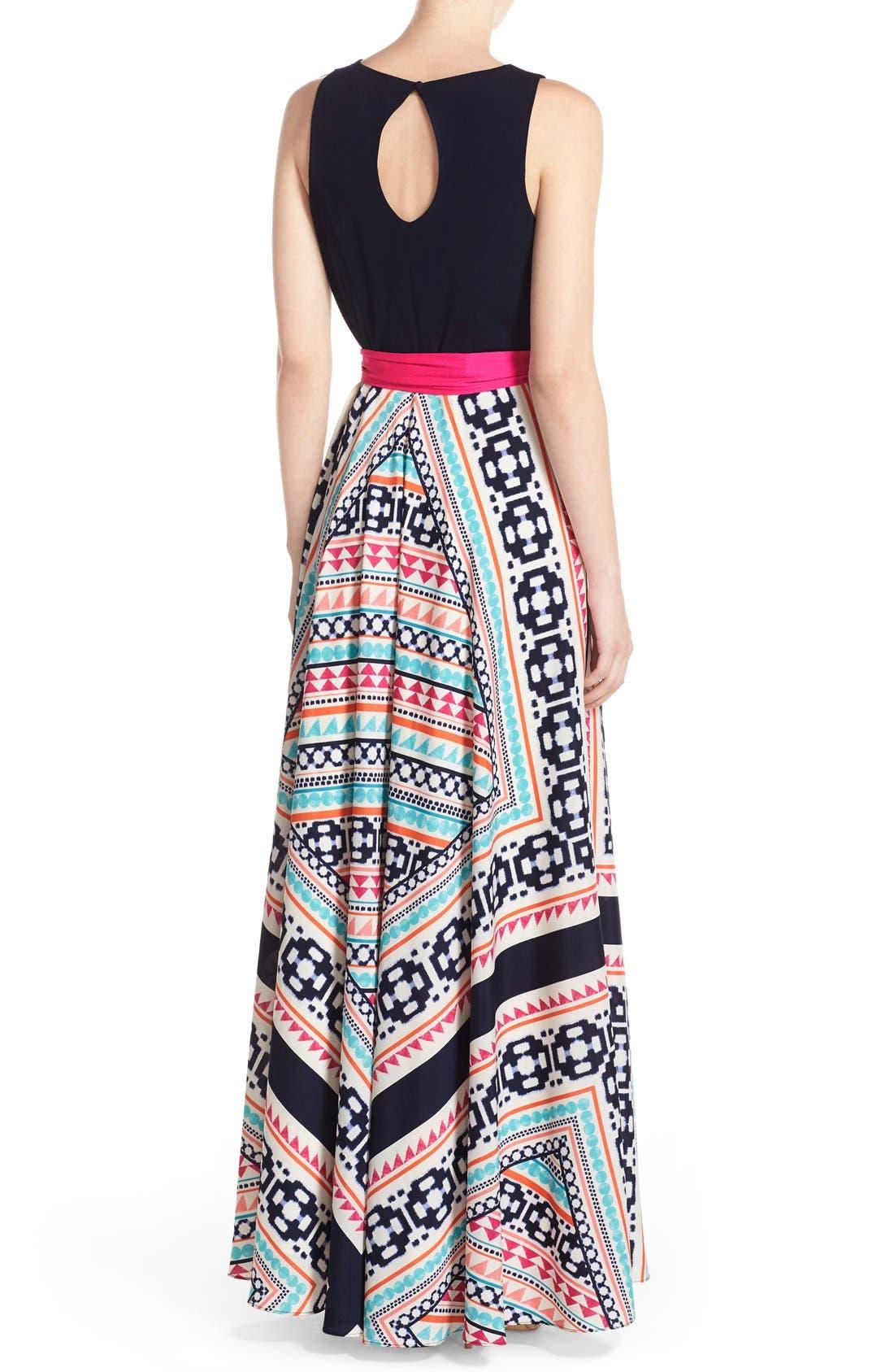 Jersey & Print Crêpe de Chine Maxi Dress,                             Alternate thumbnail 2, color,                             Pink
