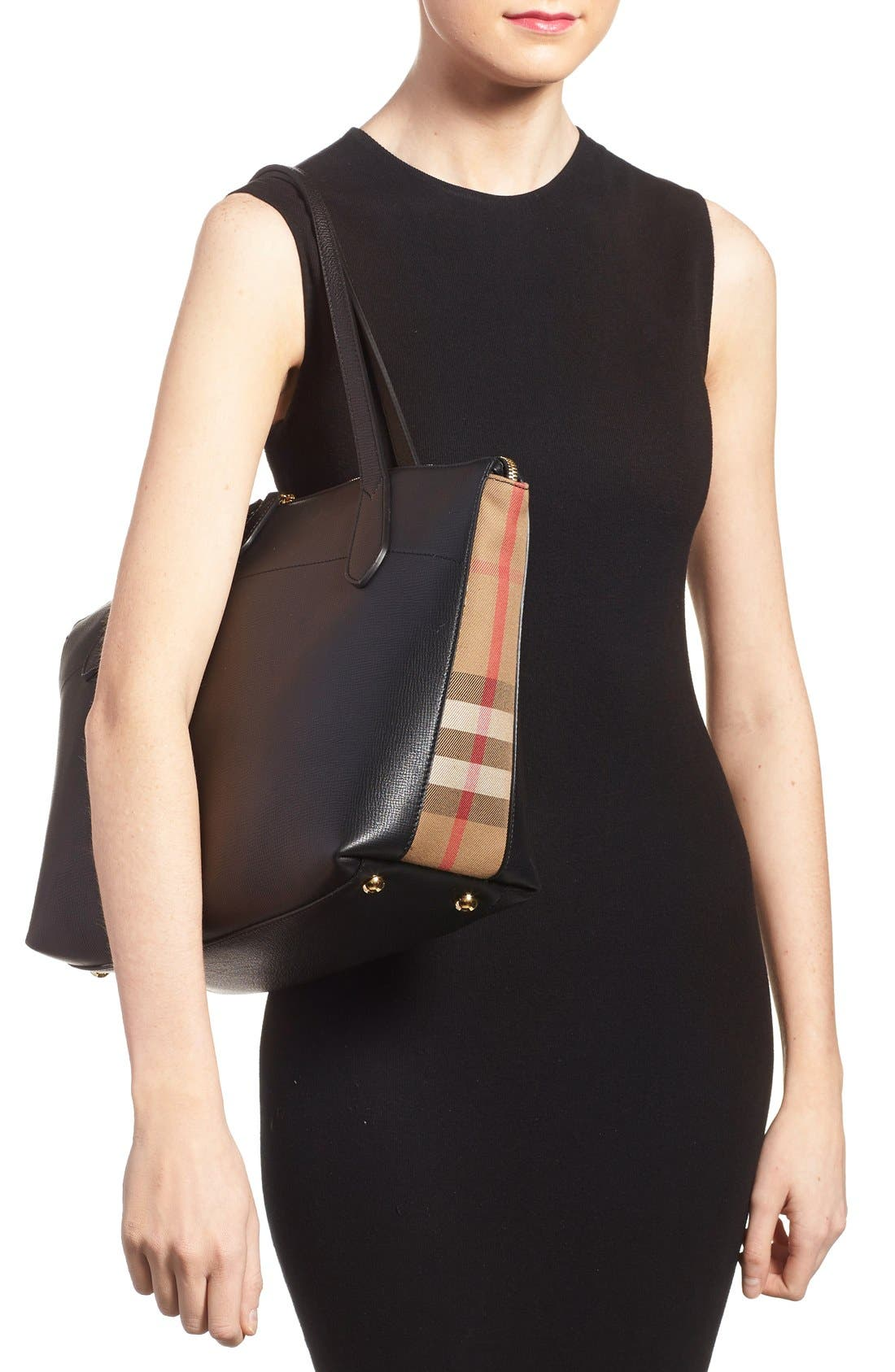 Alternate Image 2  - Burberry Welburn Check Leather Tote