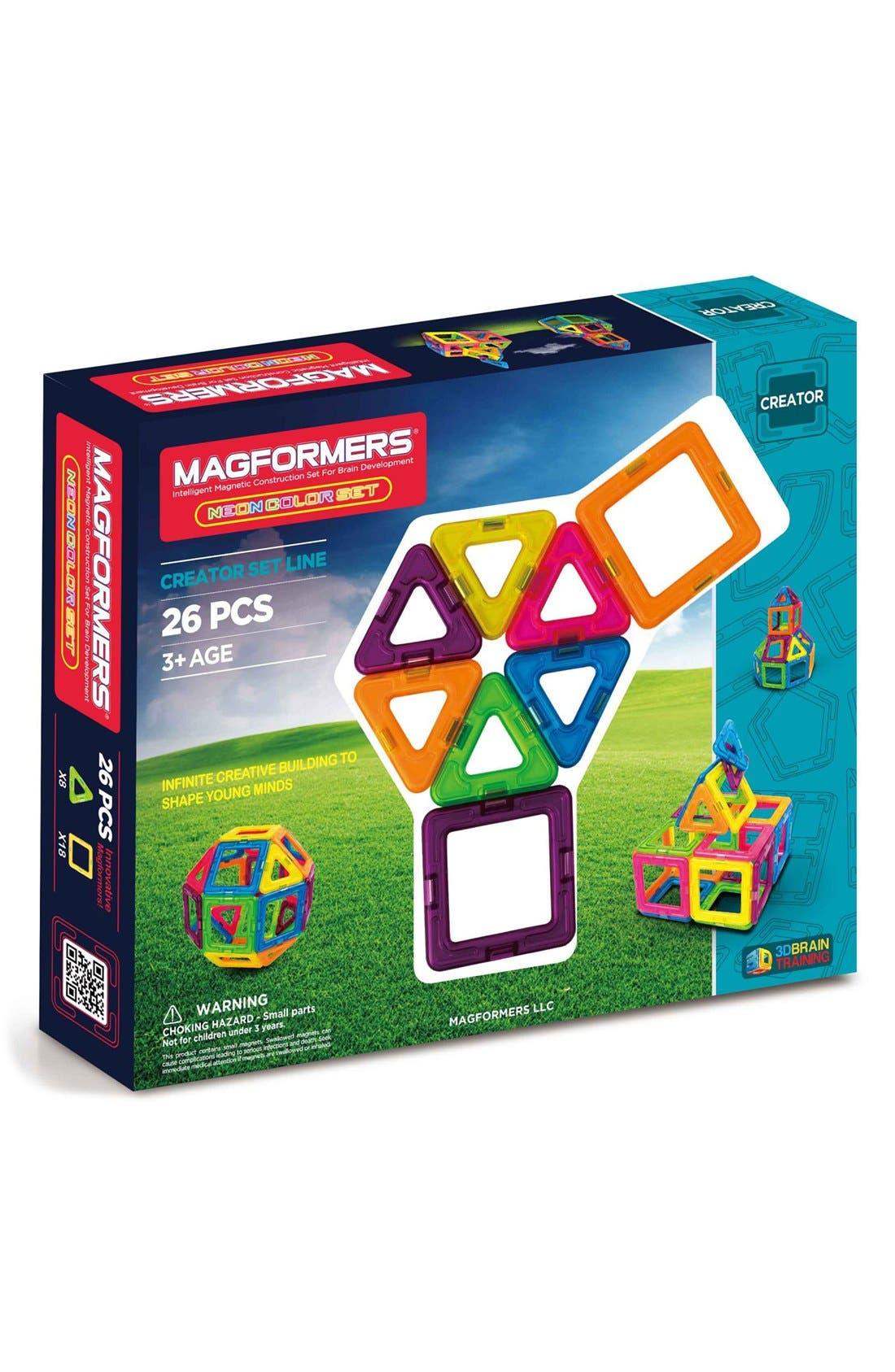 'Creator' Neon Magnetic 3D Construction Set,                         Main,                         color, Neon Rainbow