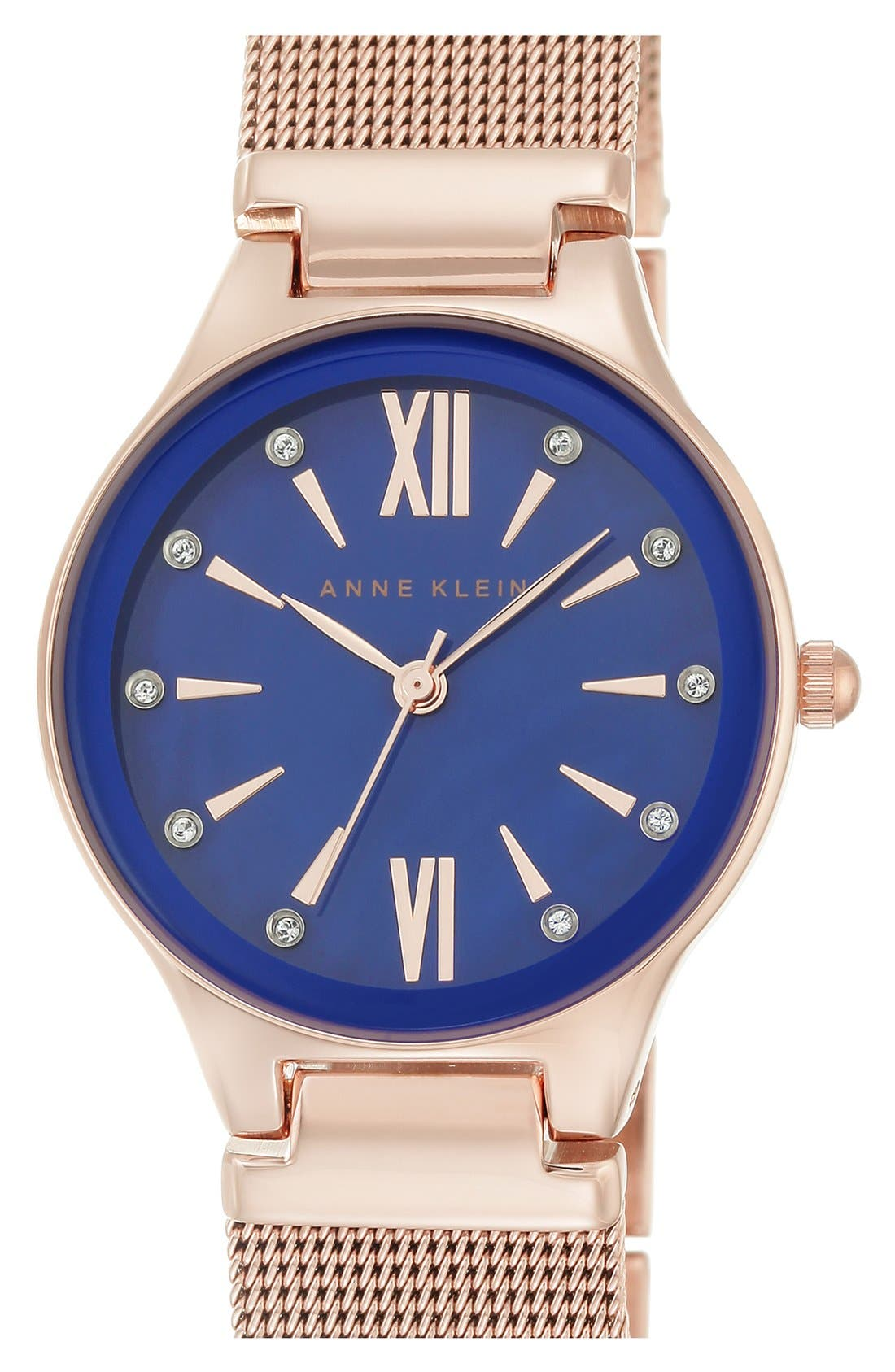 Mesh Strap Watch, 30mm,                             Main thumbnail 1, color,                             Rose Gold/ Cobalt