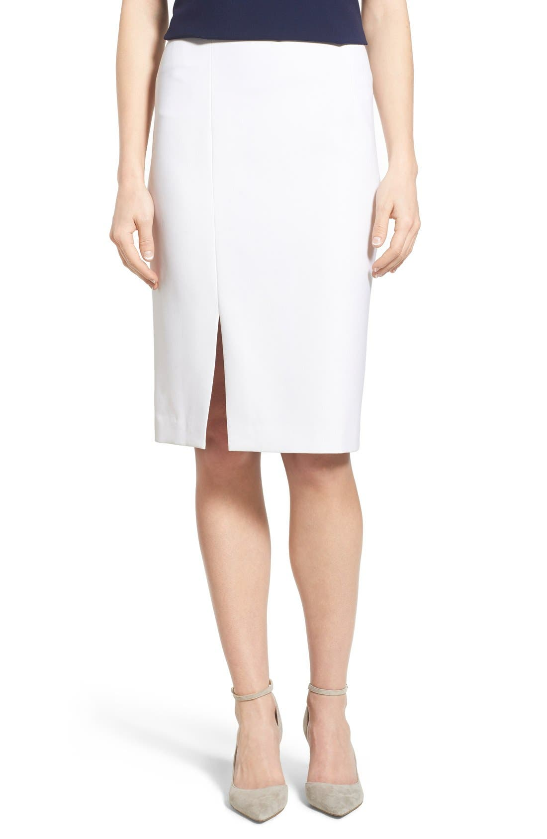 Alternate Image 1 Selected - Ellen Tracy Asymmetrical Front Slit Pencil Skirt