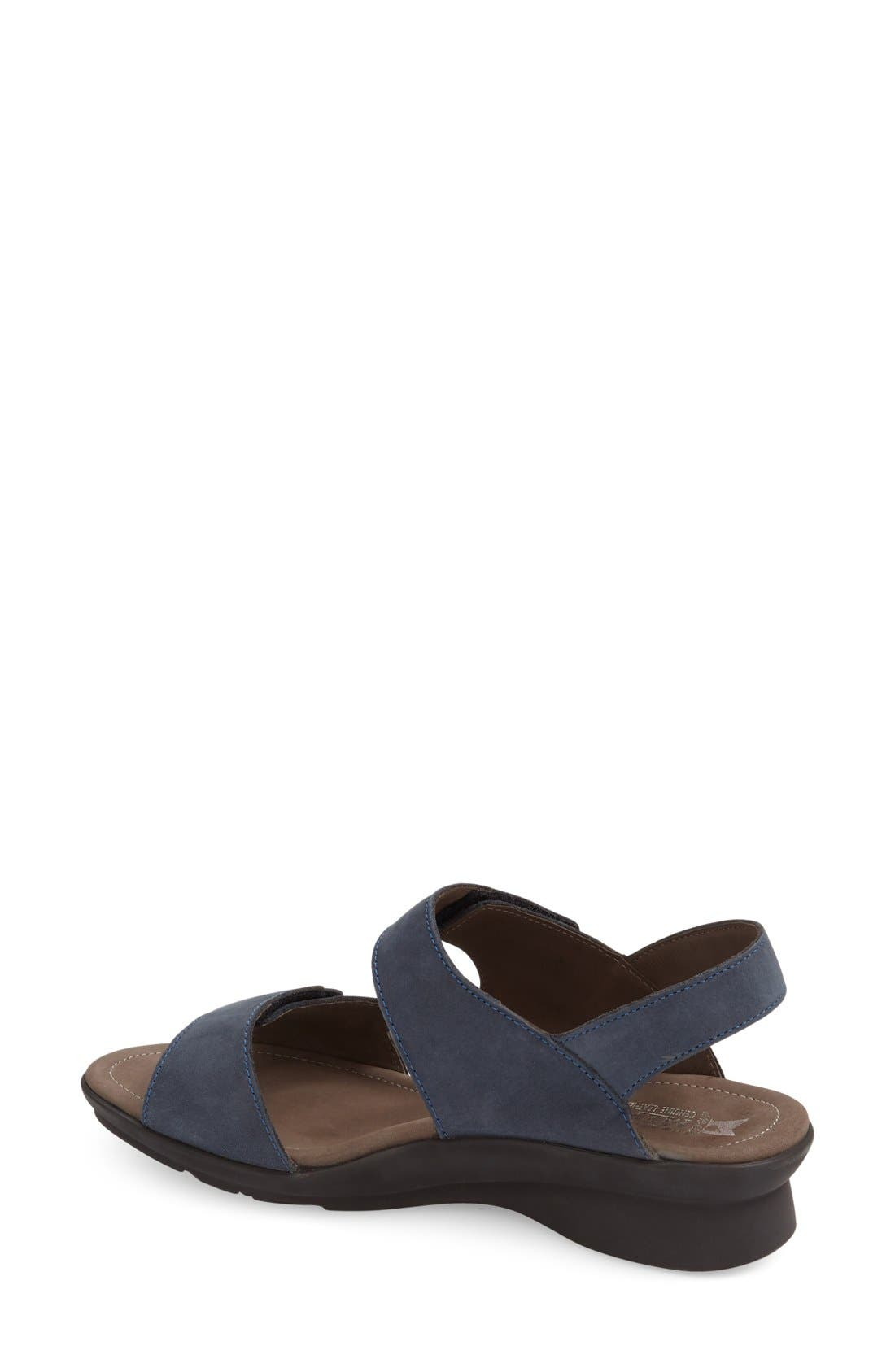 'Prudy' Leather Sandal,                             Alternate thumbnail 2, color,                             Navy Nubuck Leather