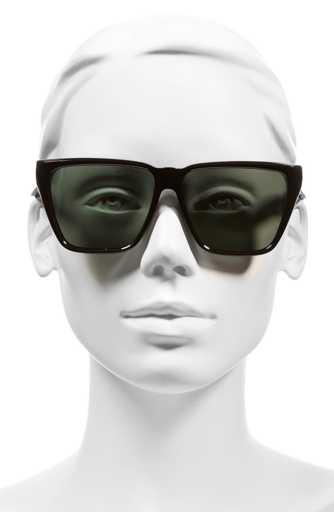 58mm Flat Top Sunglasses,                             Alternate thumbnail 2, color,                             Black/ Grey Green