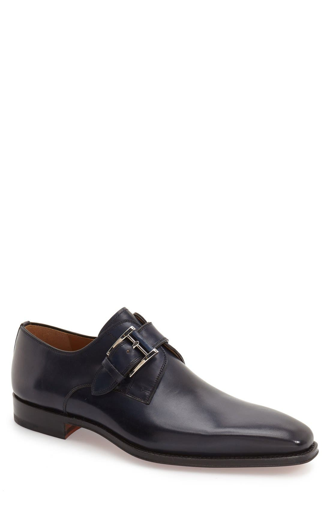 Marco Monk Strap Loafer,                         Main,                         color, Navy Leather