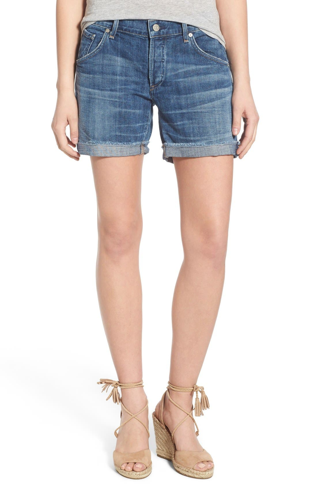 'Skyler' Cutoff Denim Shorts,                         Main,                         color, Halo