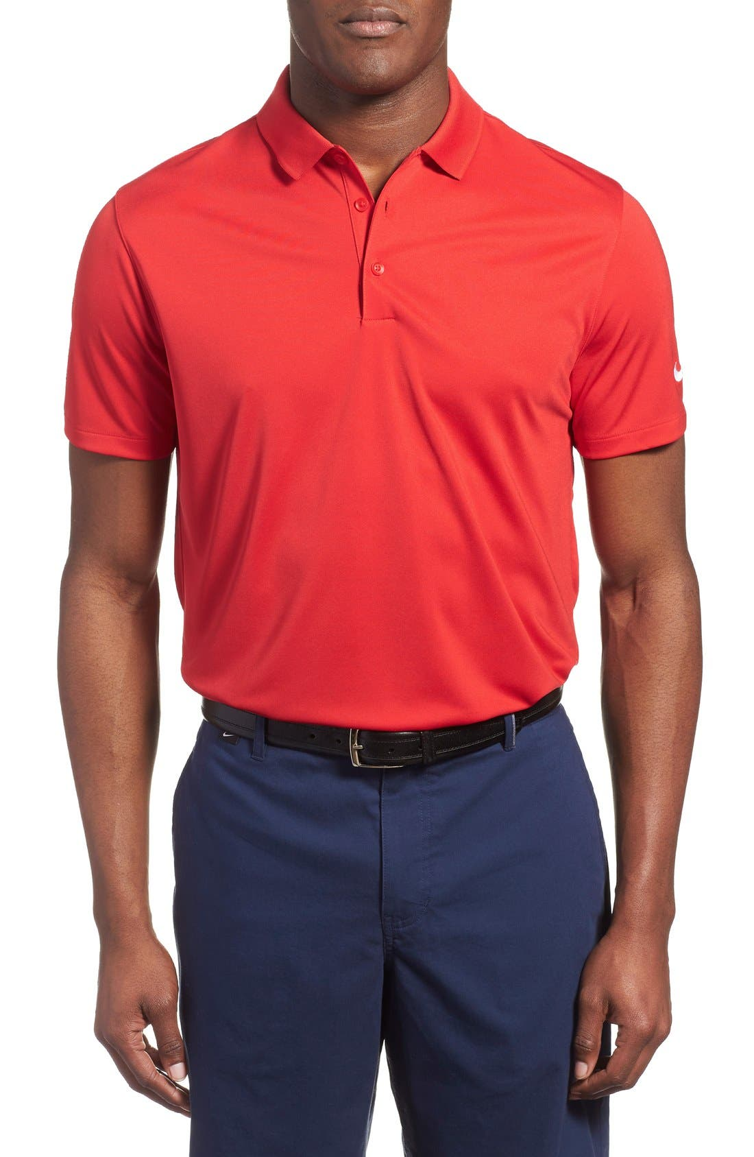 'Victory Dri-FIT Golf Polo,                         Main,                         color, University Red/White