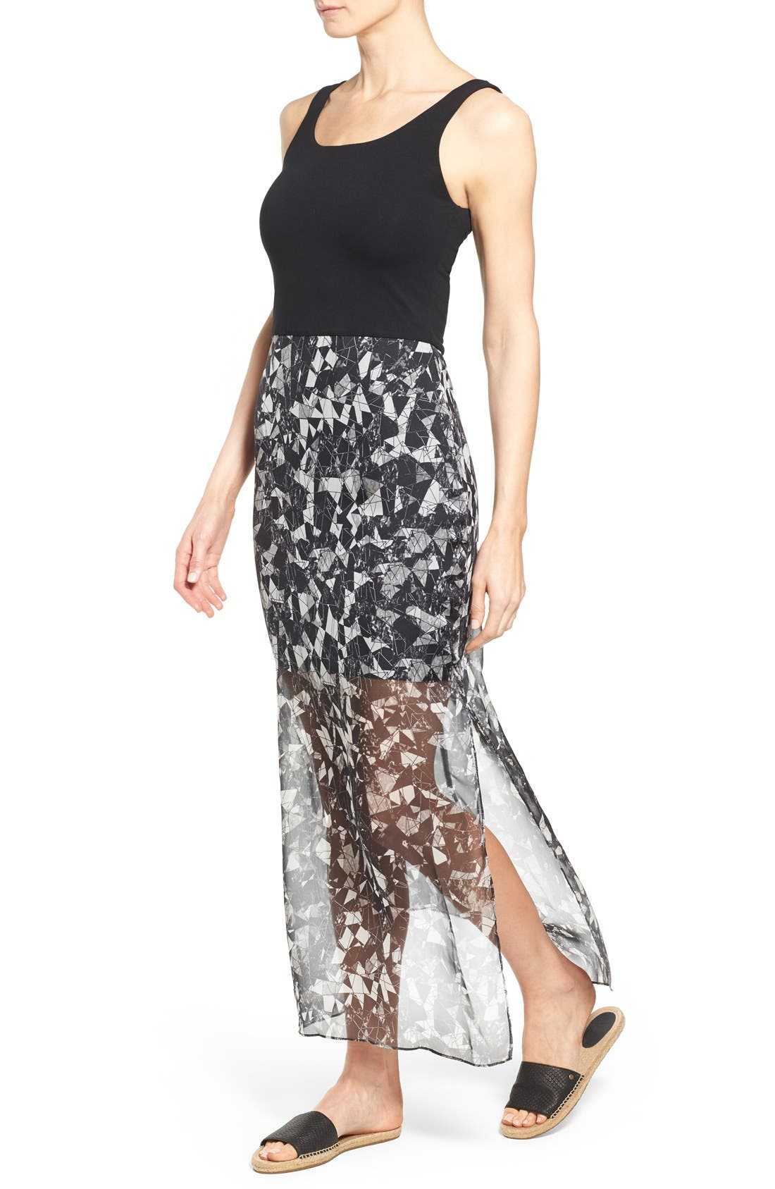 Print Chiffon Overlay Maxi Dress,                             Alternate thumbnail 4, color,                             Rich Black