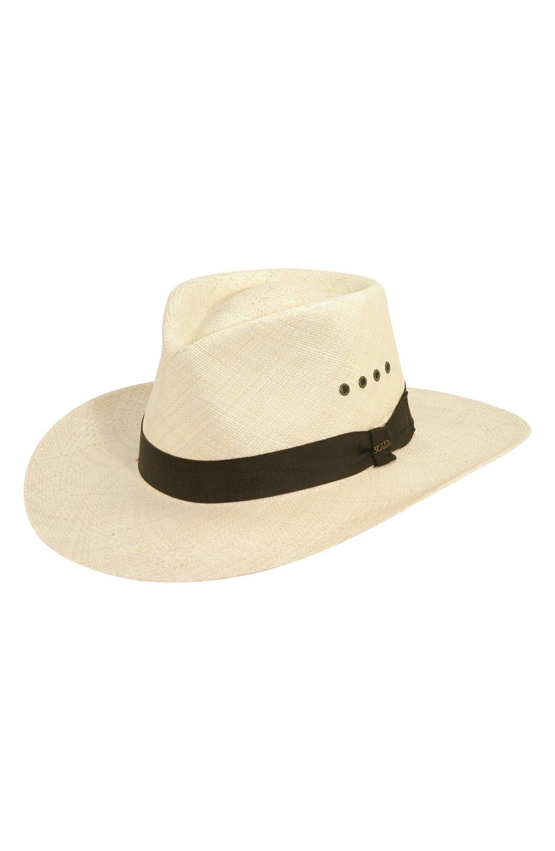 Straw Outback Hat,                         Main,                         color, Natural