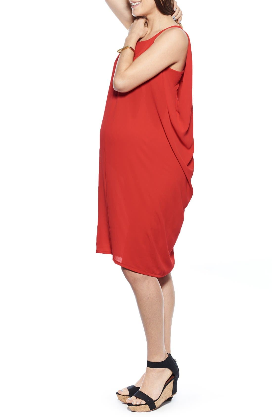 Cocoon Maternity Dress,                             Alternate thumbnail 3, color,                             Red
