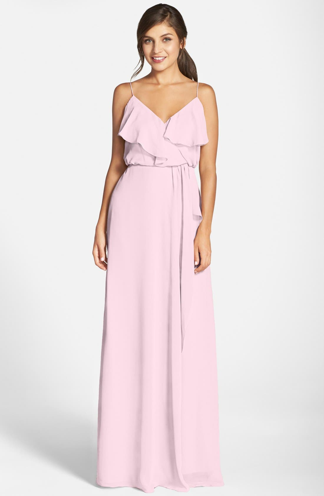 'Drew' Ruffle Front Chiffon Gown,                         Main,                         color, Peony