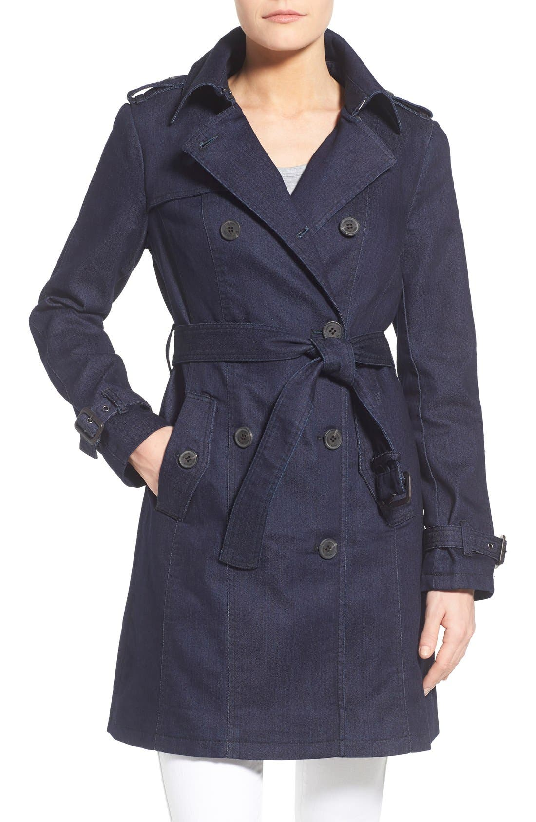Alternate Image 1 Selected - MICHAEL Michael Kors Double Breasted Denim Trench Coat