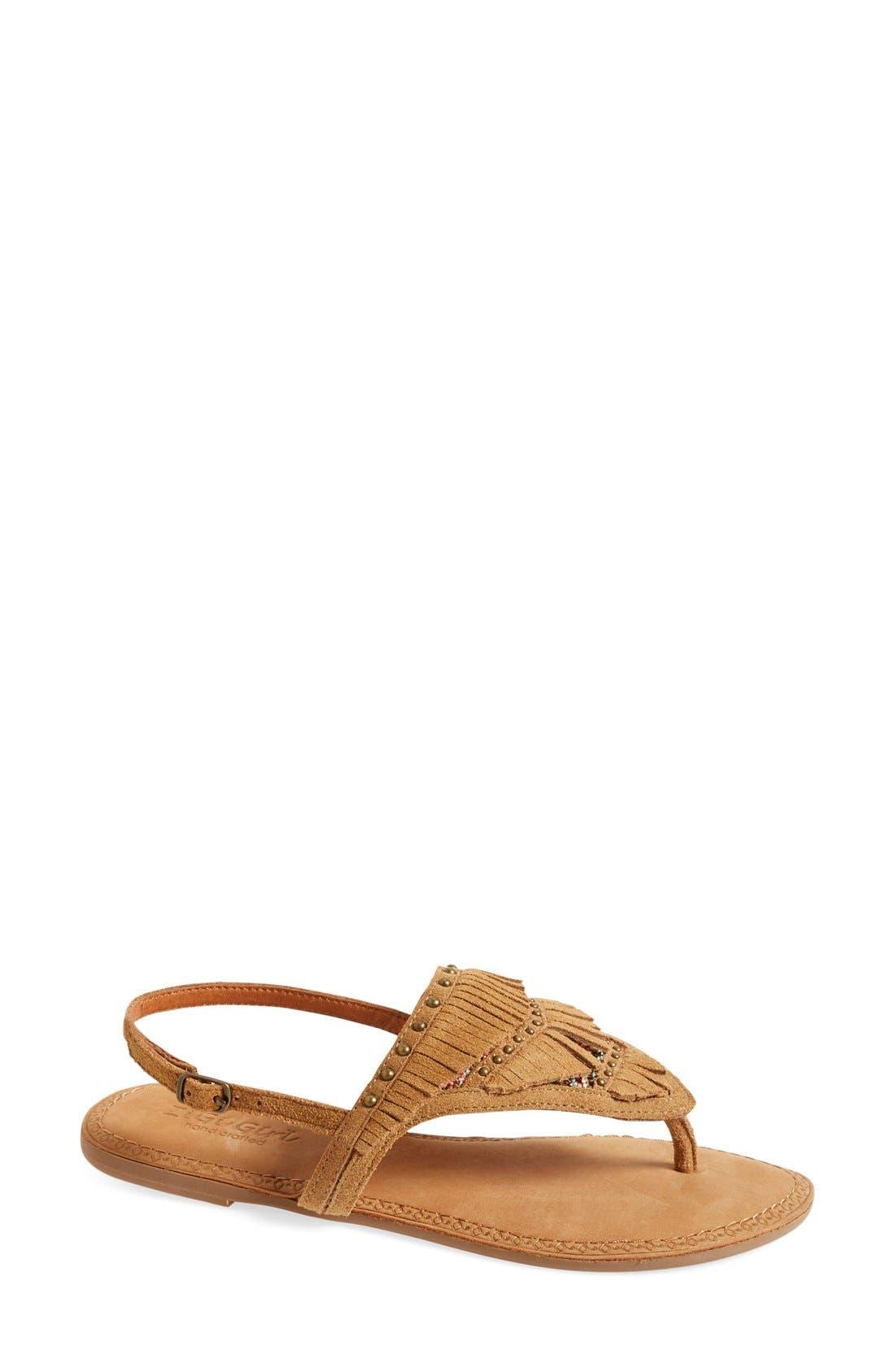Main Image - ZiGi girl 'Farza' Embellished Fringe Flat Sandal (Women)
