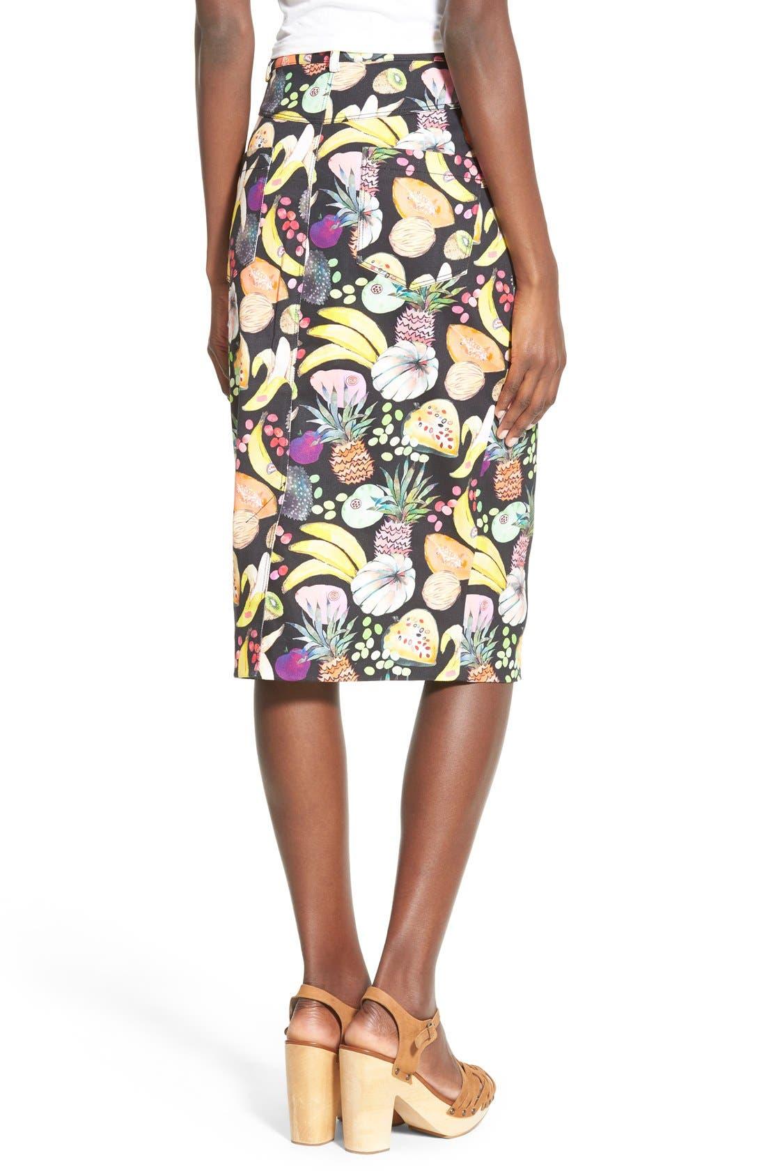 'Hilary' Denim Pencil Skirt,                             Alternate thumbnail 2, color,                             Tutti Frutti Black