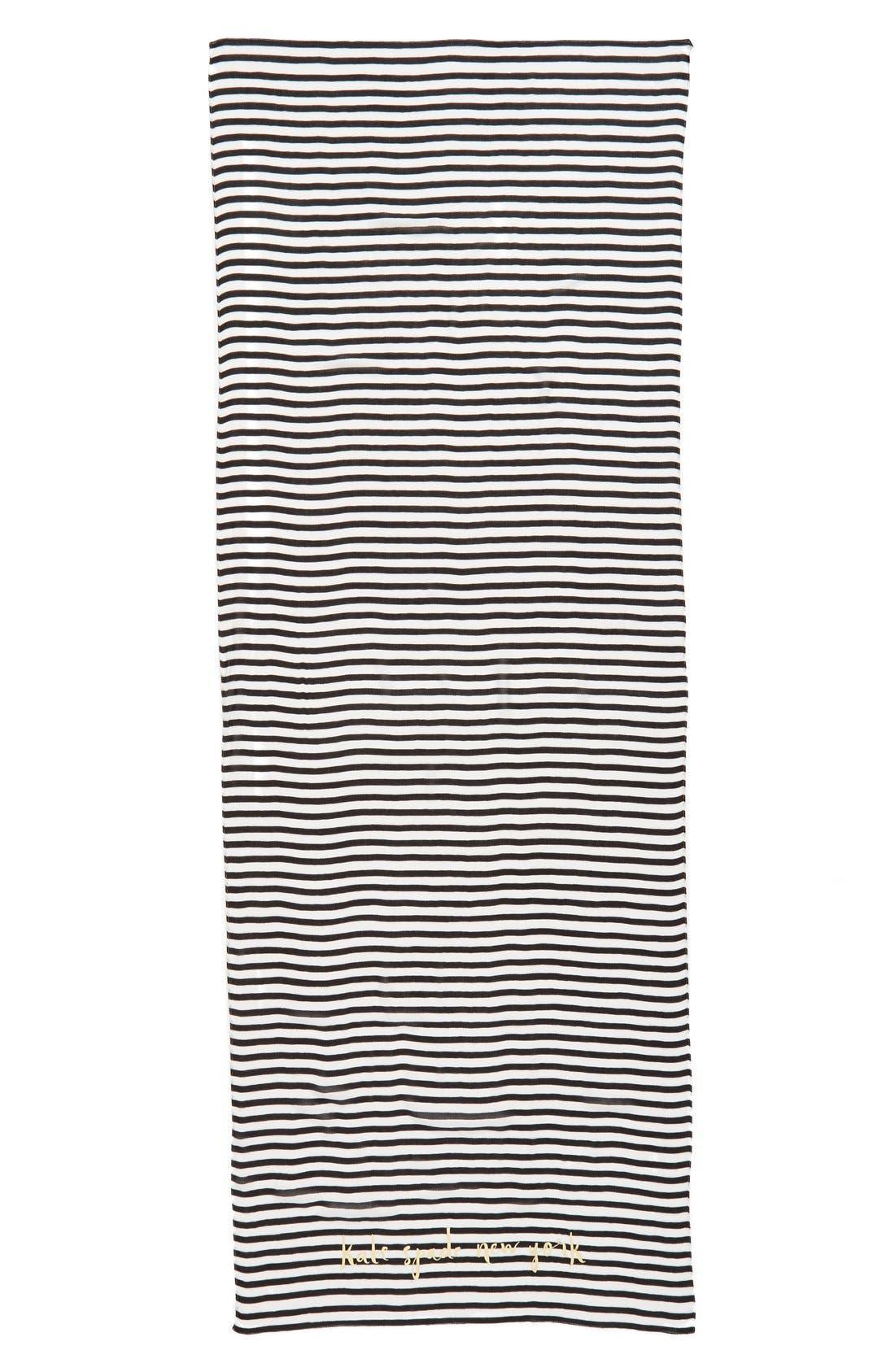 winter stripe scarf,                             Alternate thumbnail 2, color,                             Black