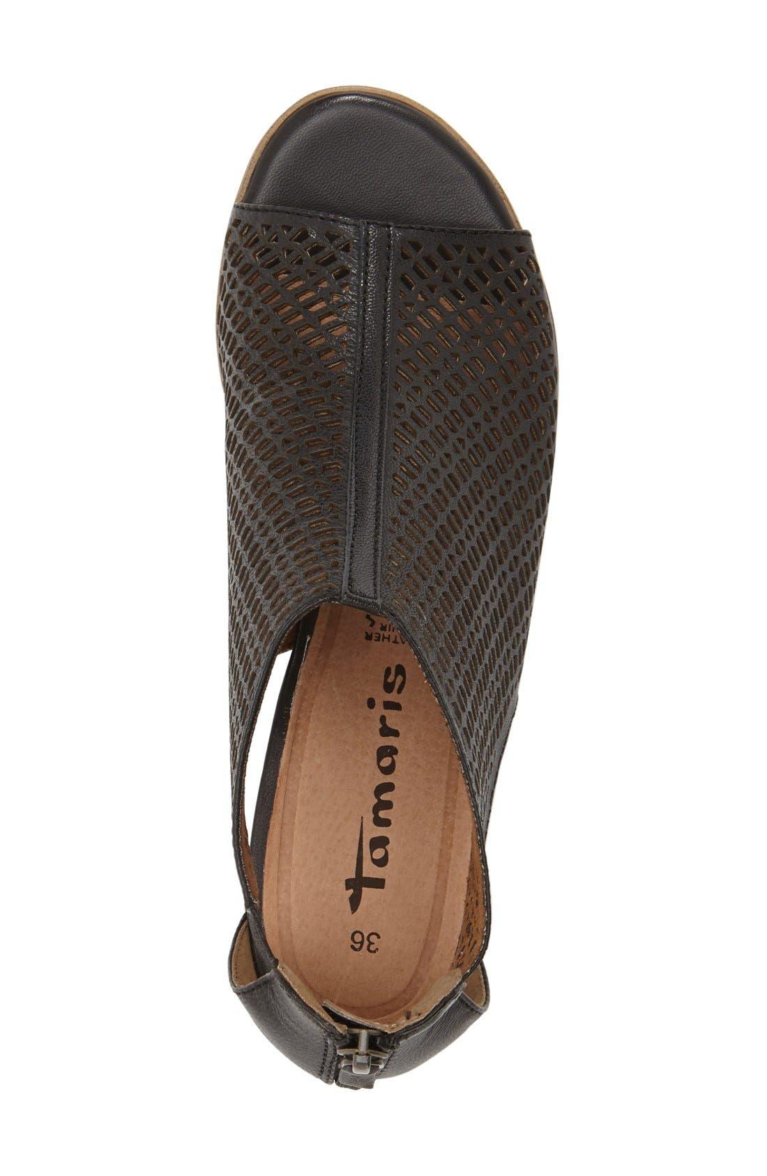 'Nao' Open Toe Sandal,                             Alternate thumbnail 3, color,                             Black Leather