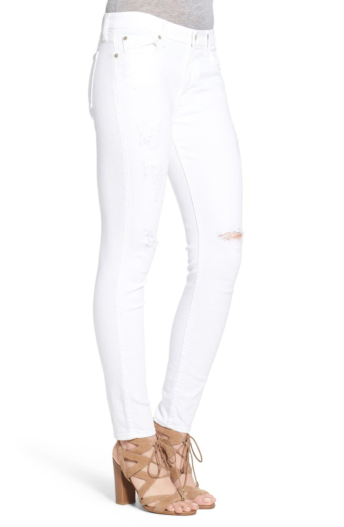 Alternate Image 3  - 7 For All Mankind® Destroyed Ankle Skinny Jeans (Clean White)