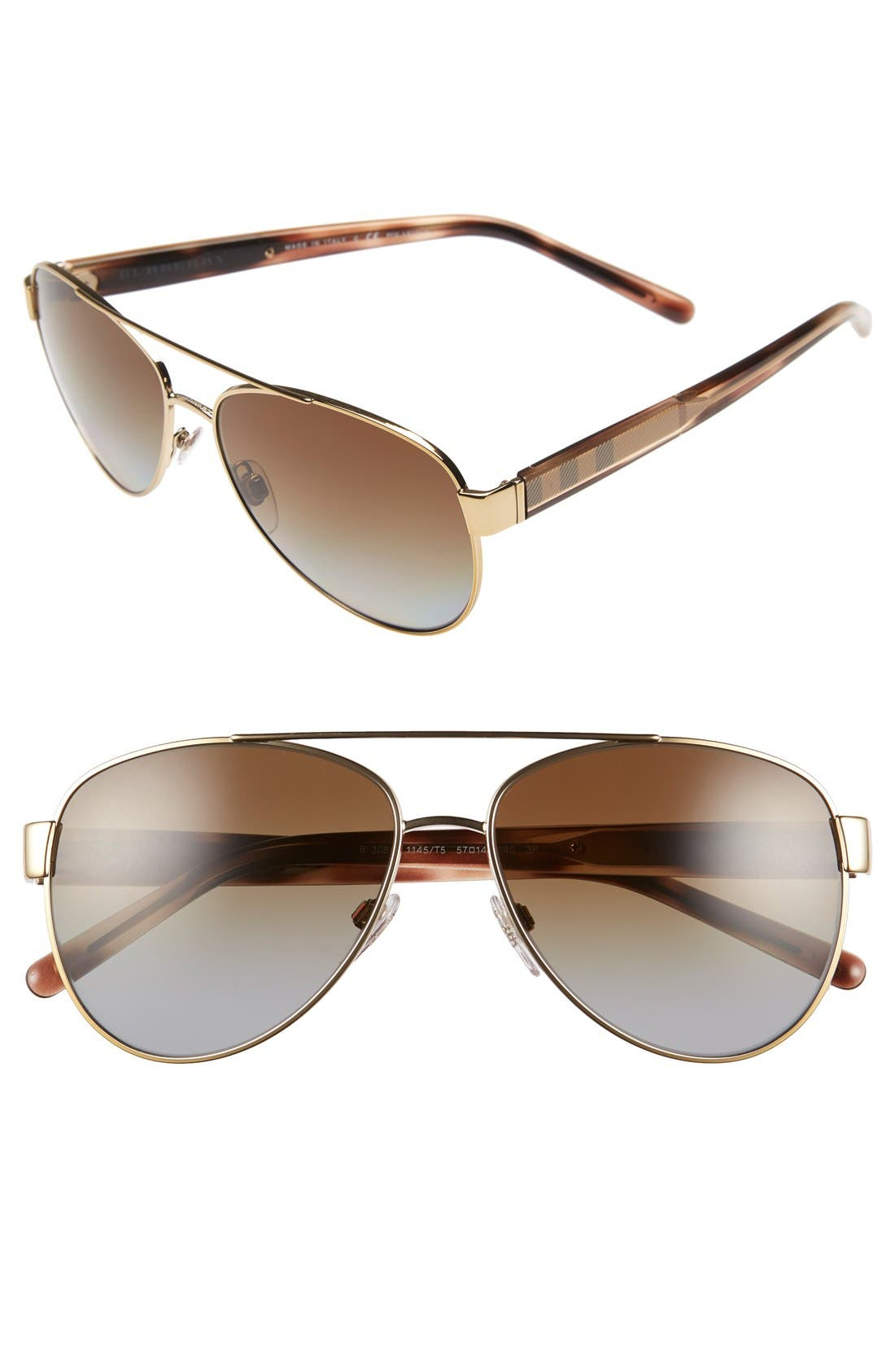 Main Image - Burberry 57mm Polarized Aviator Sunglasses