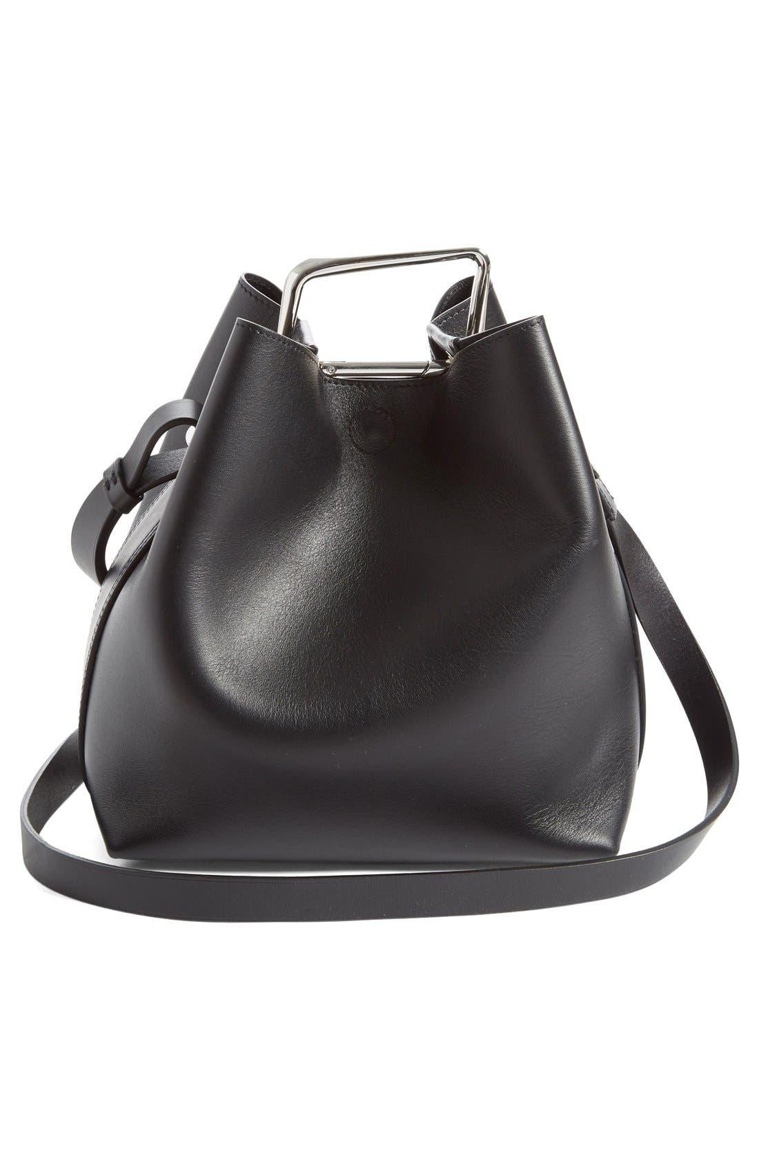 'Mini Quill' Leather Bucket Bag,                             Alternate thumbnail 3, color,                             Black