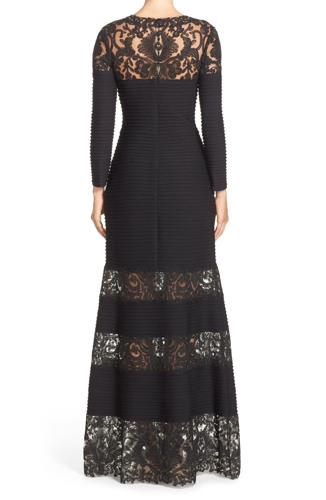 Jacky Illusion Gown,                             Alternate thumbnail 2, color,                             Black