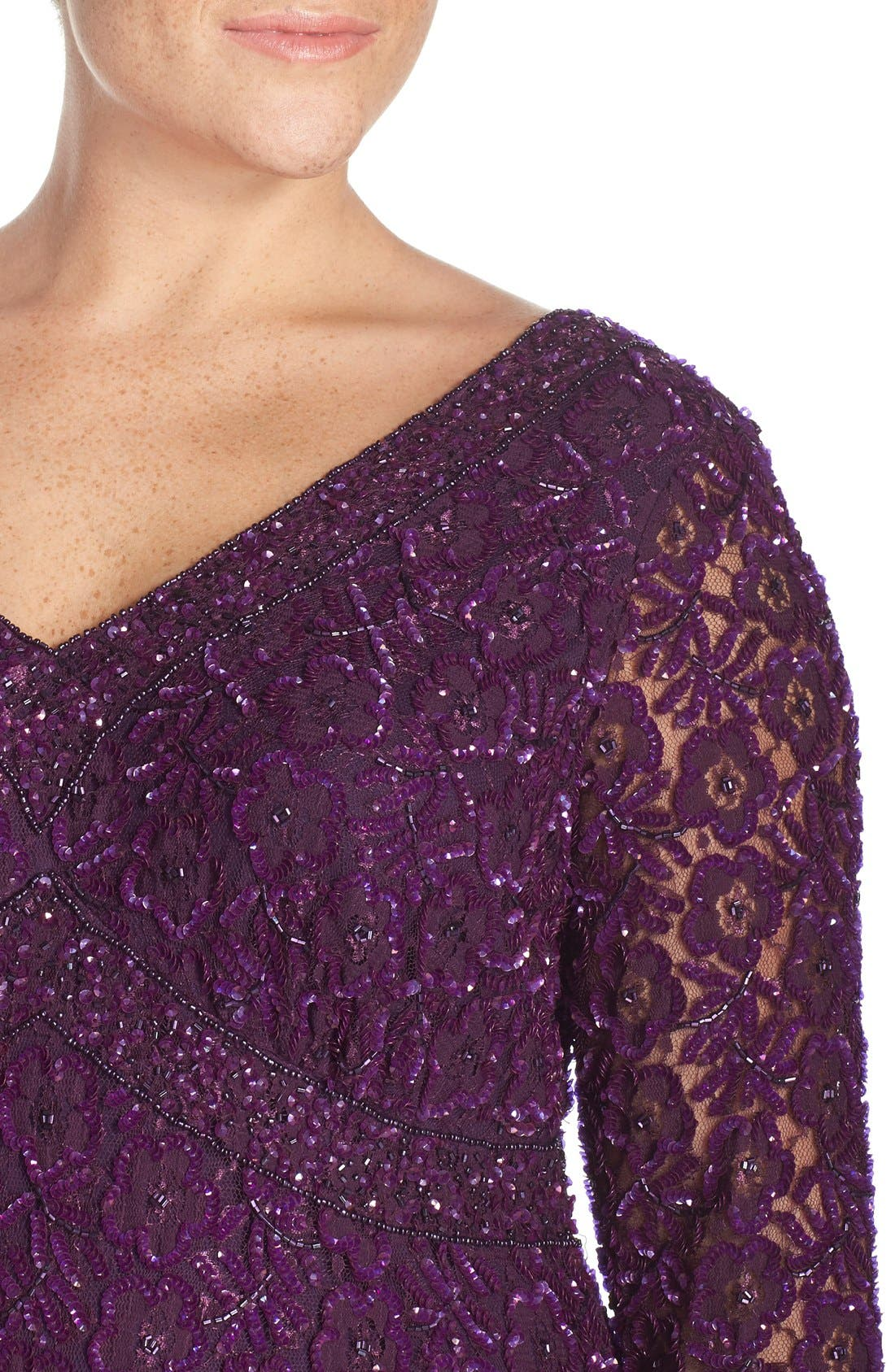 Beaded V-Neck Lace Illusion Gown,                             Alternate thumbnail 4, color,                             Plum