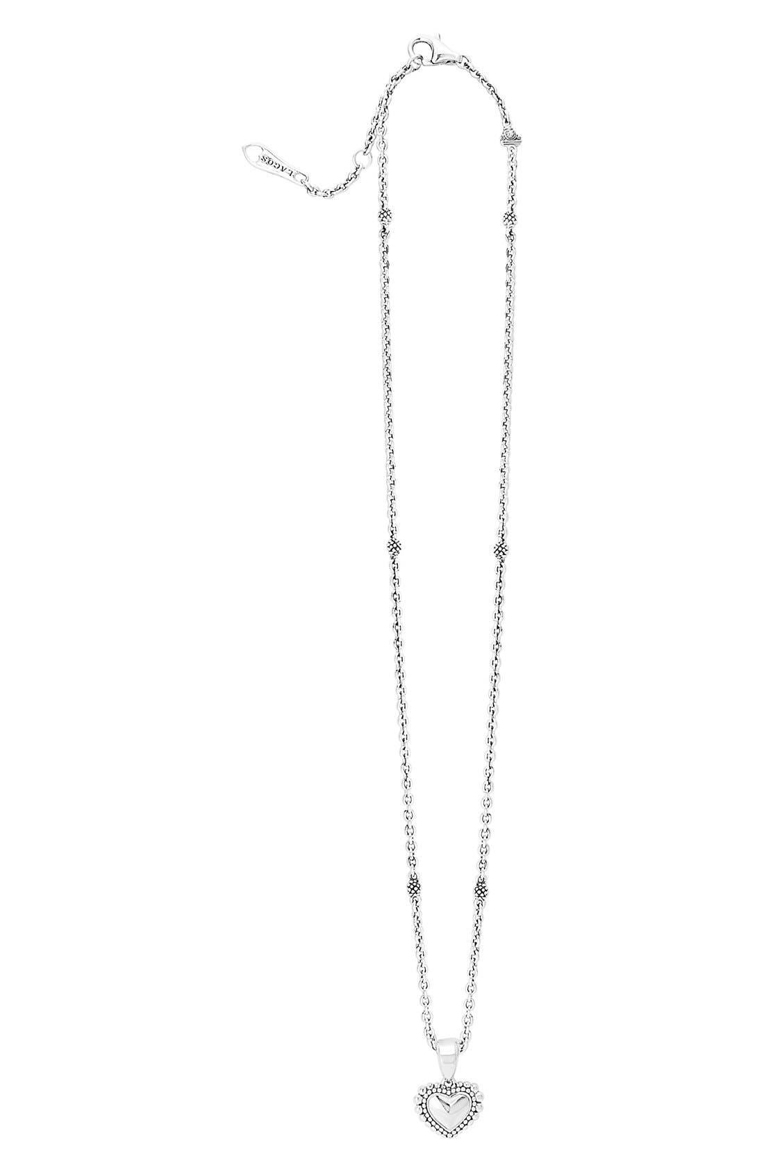 Heart Pendant Necklace,                             Alternate thumbnail 2, color,                             Silver