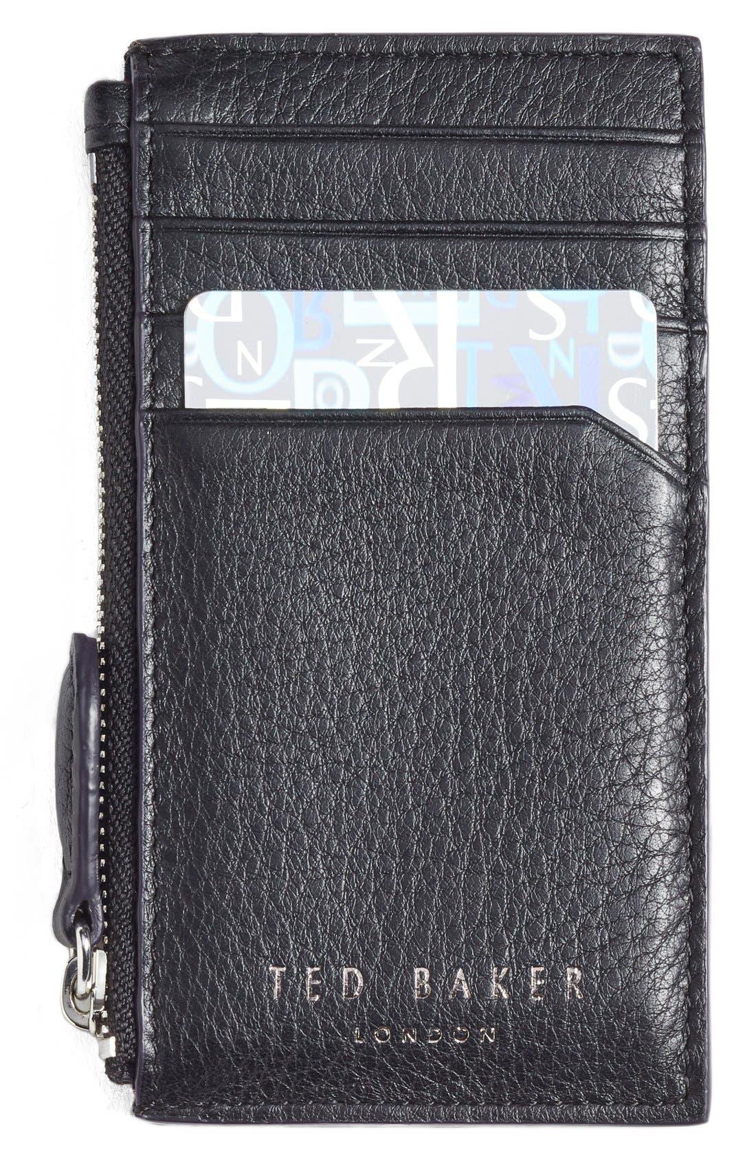 'Longzip' Card & Coin Case,                             Main thumbnail 1, color,                             Black
