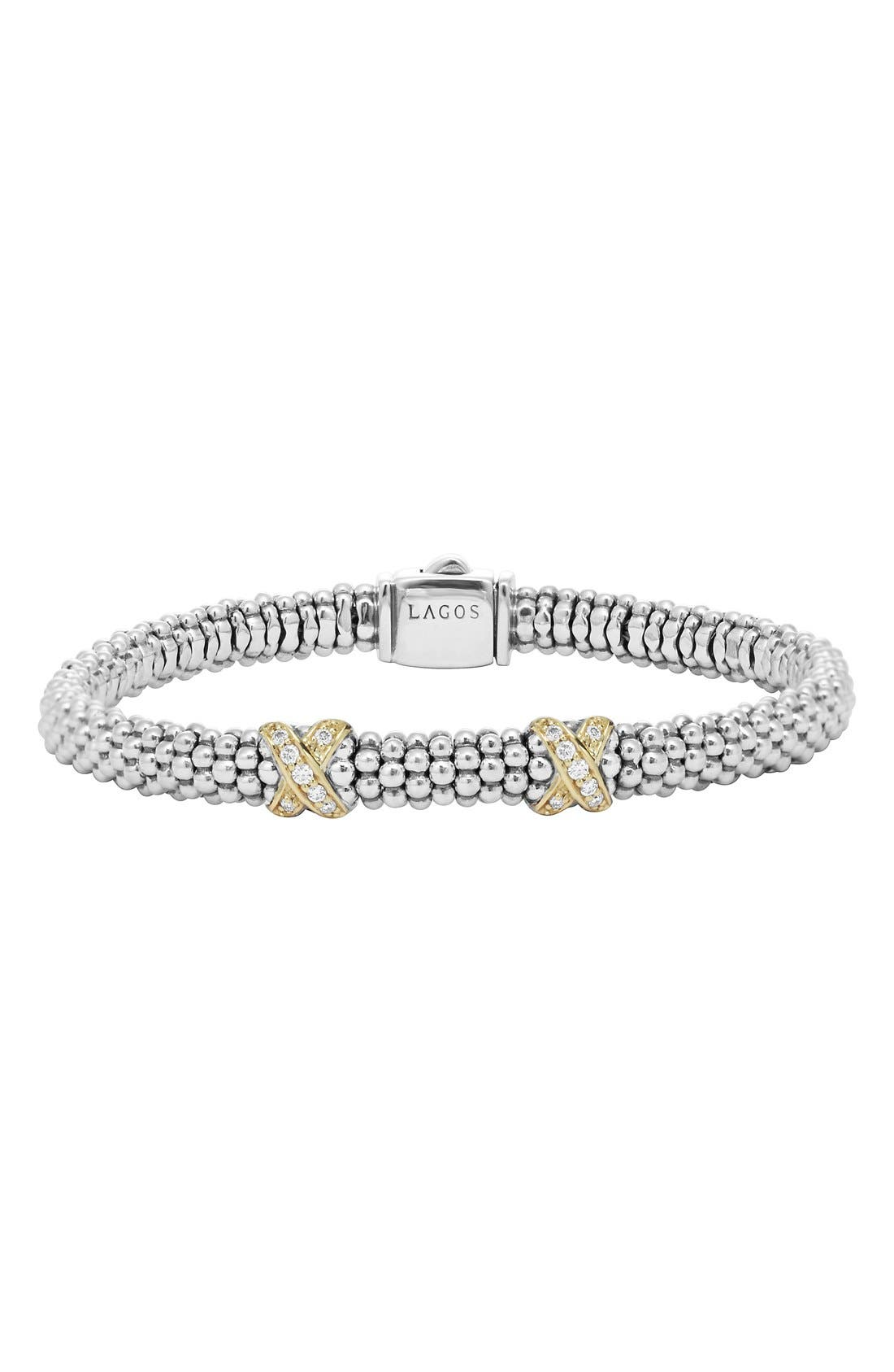 'Signature Caviar' Diamond Rope Bracelet,                             Main thumbnail 1, color,                             Silver/Gold