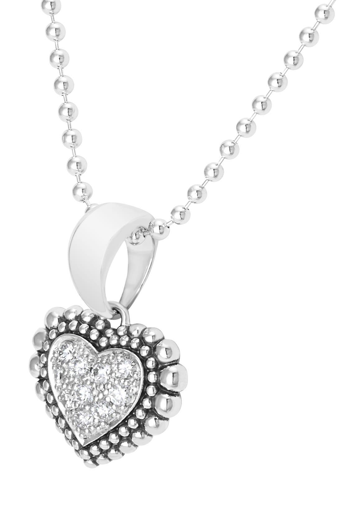 Diamond Heart Pendant Necklace,                             Alternate thumbnail 2, color,                             Silver