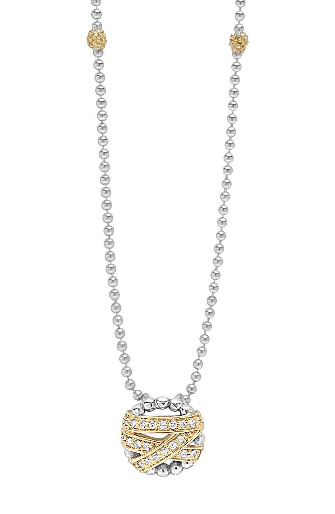 'Diamonds & Caviar' Pendant Necklace,                         Main,                         color, Silver/ Gold