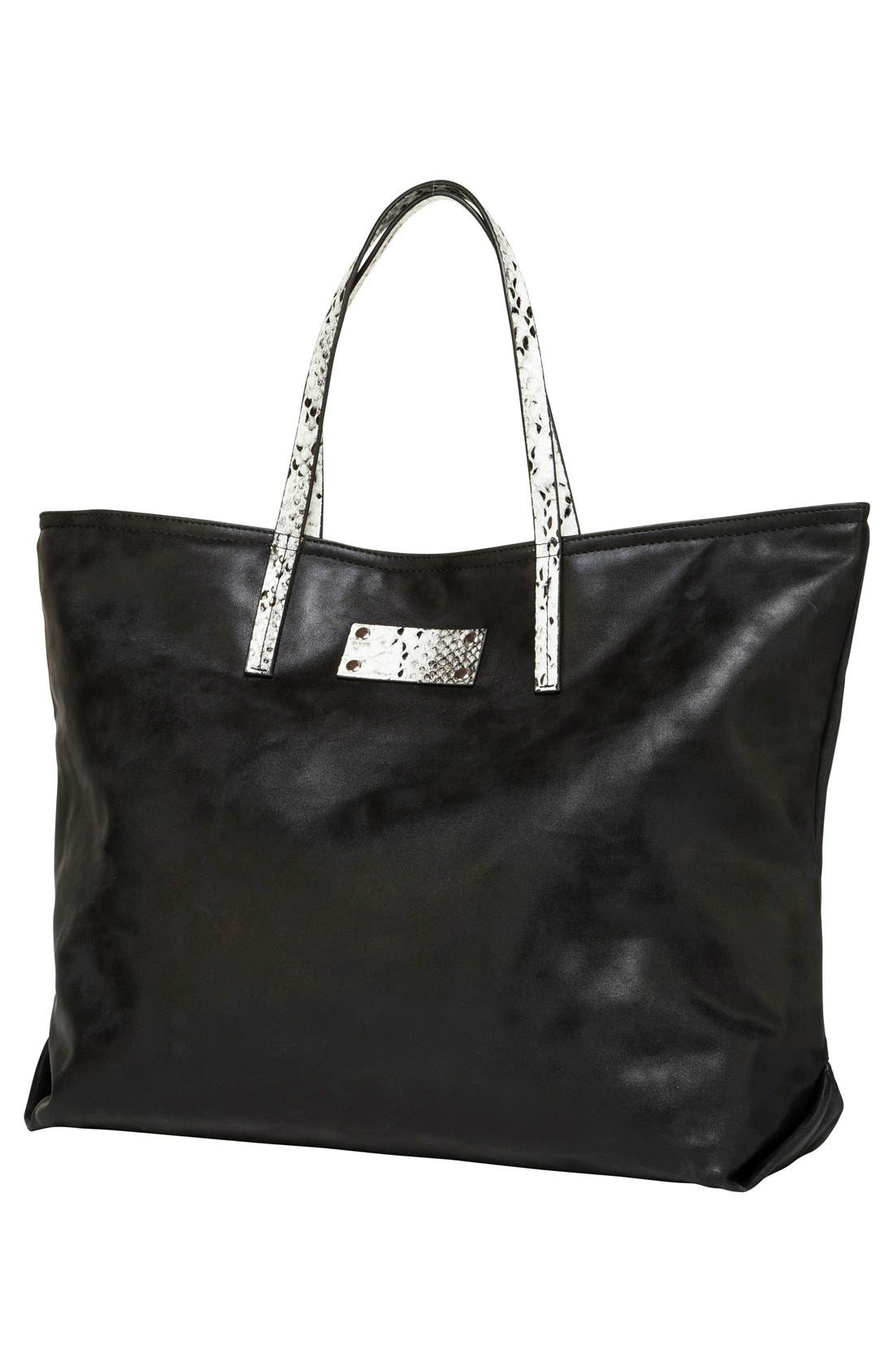 Sun Valley Vegan Leather Tote,                             Alternate thumbnail 2, color,                             Black