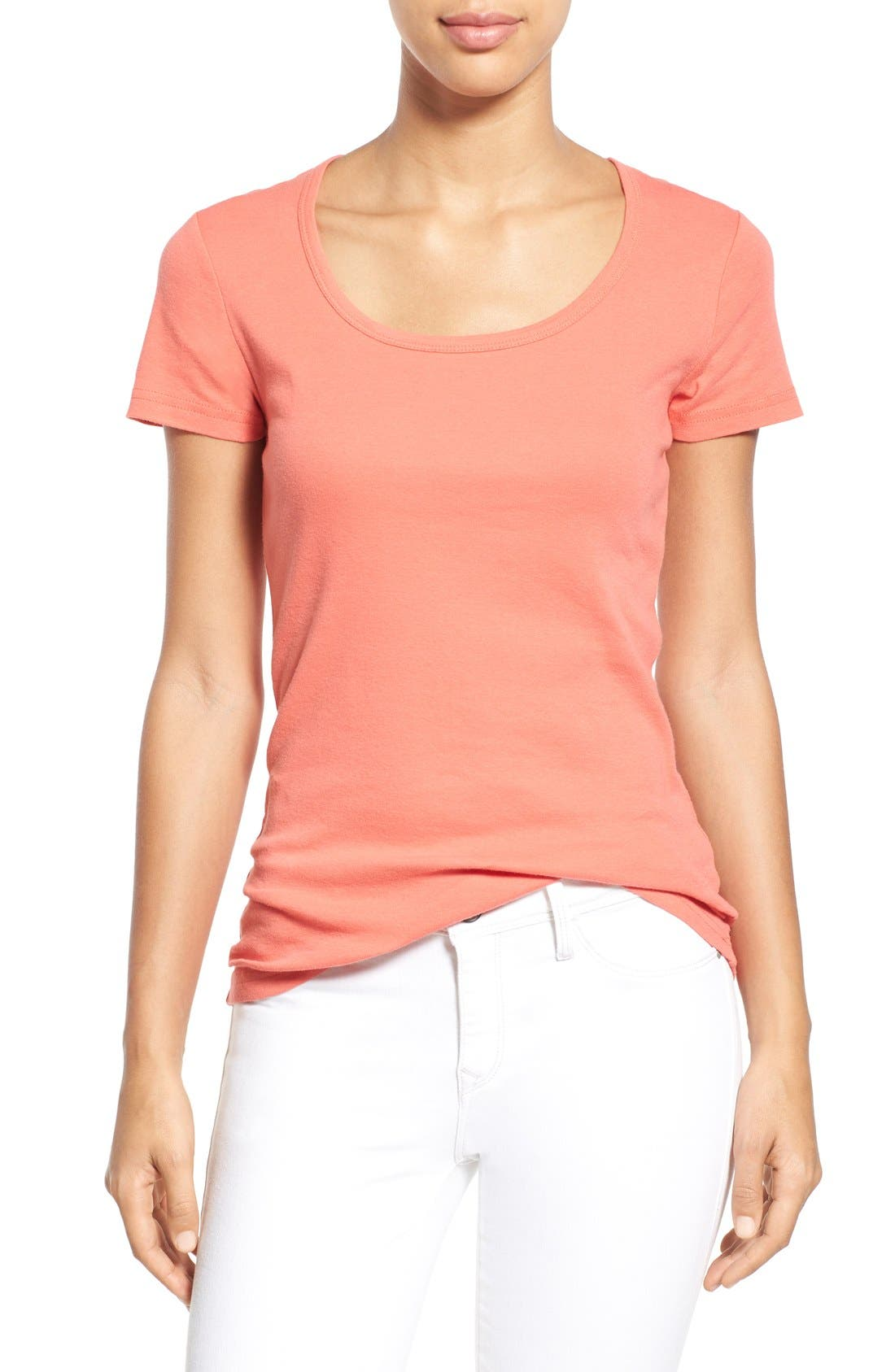Short Sleeve Scoop Neck Tee,                         Main,                         color, Coral Spice