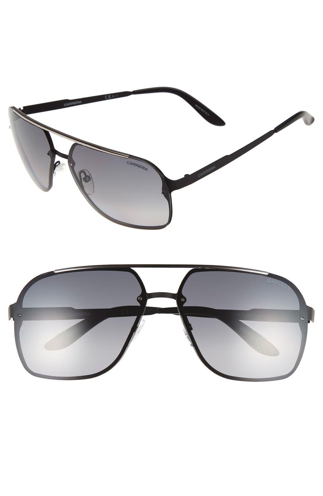 '91/S' 64mm Polarized Sunglasses,                         Main,                         color, Black Matte/ Grey