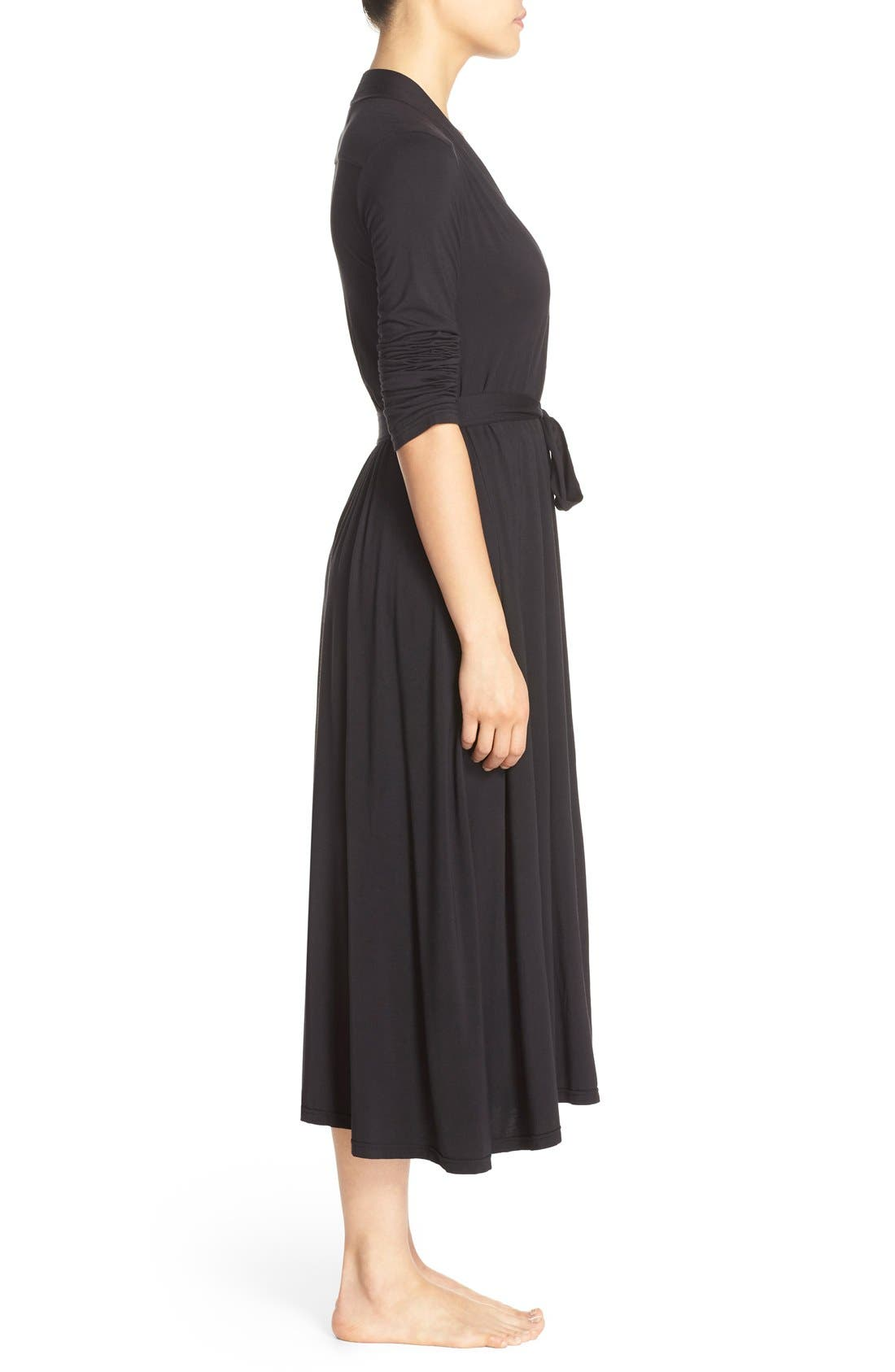 Luxe Long Jersey Robe,                             Alternate thumbnail 3, color,                             Black