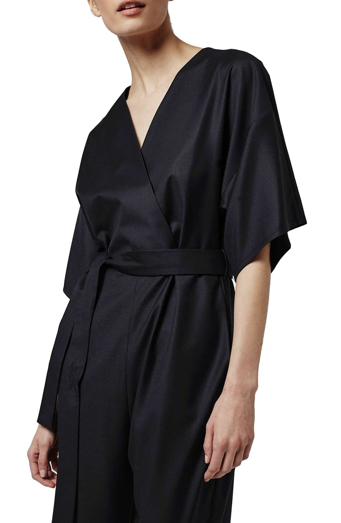 Alternate Image 4  - Topshop Boutique Wool Kimono Wrap Jumpsuit