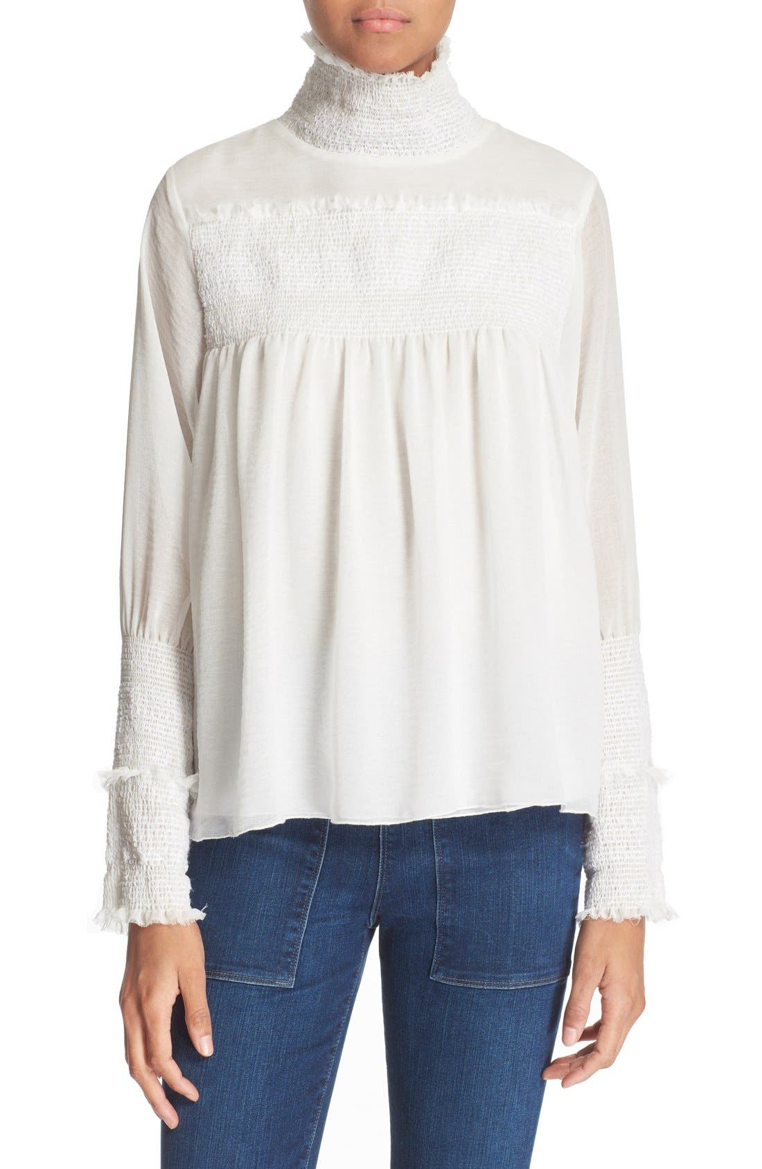 Smocked High Neck Blouse,                         Main,                         color, Natural White