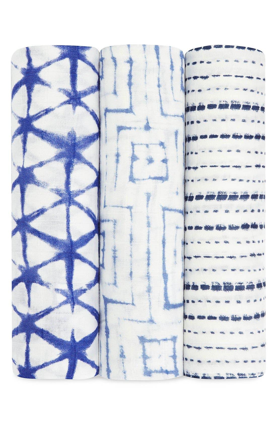 'Silky Soft' Swaddling Cloths,                             Main thumbnail 1, color,                             Blue