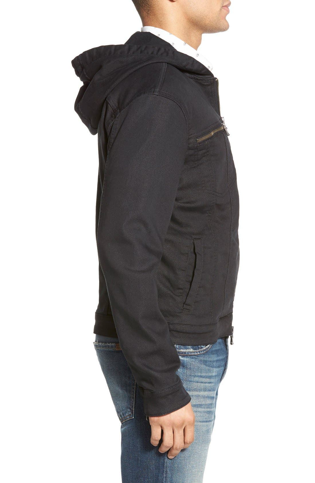 Hooded Denim Jacket,                             Alternate thumbnail 3, color,                             Black