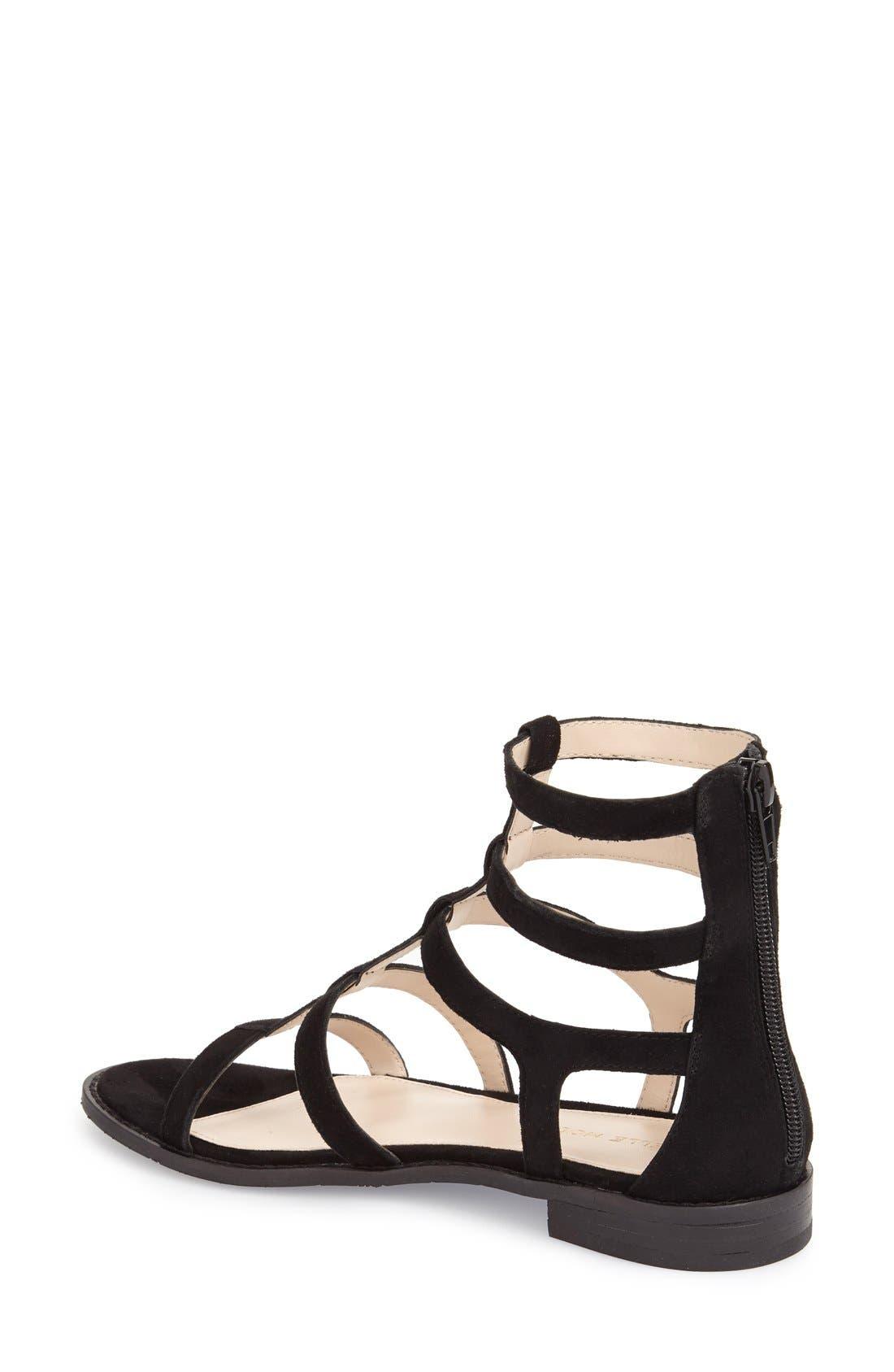 'Helen' Flat Gladiator Sandal,                             Alternate thumbnail 2, color,                             Black Leather