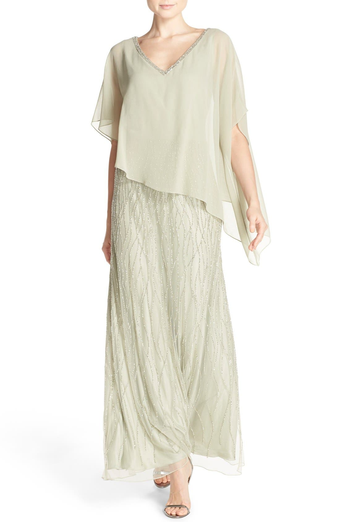Alternate Image 1 Selected - J Kara Chiffon Overlay Beaded Gown
