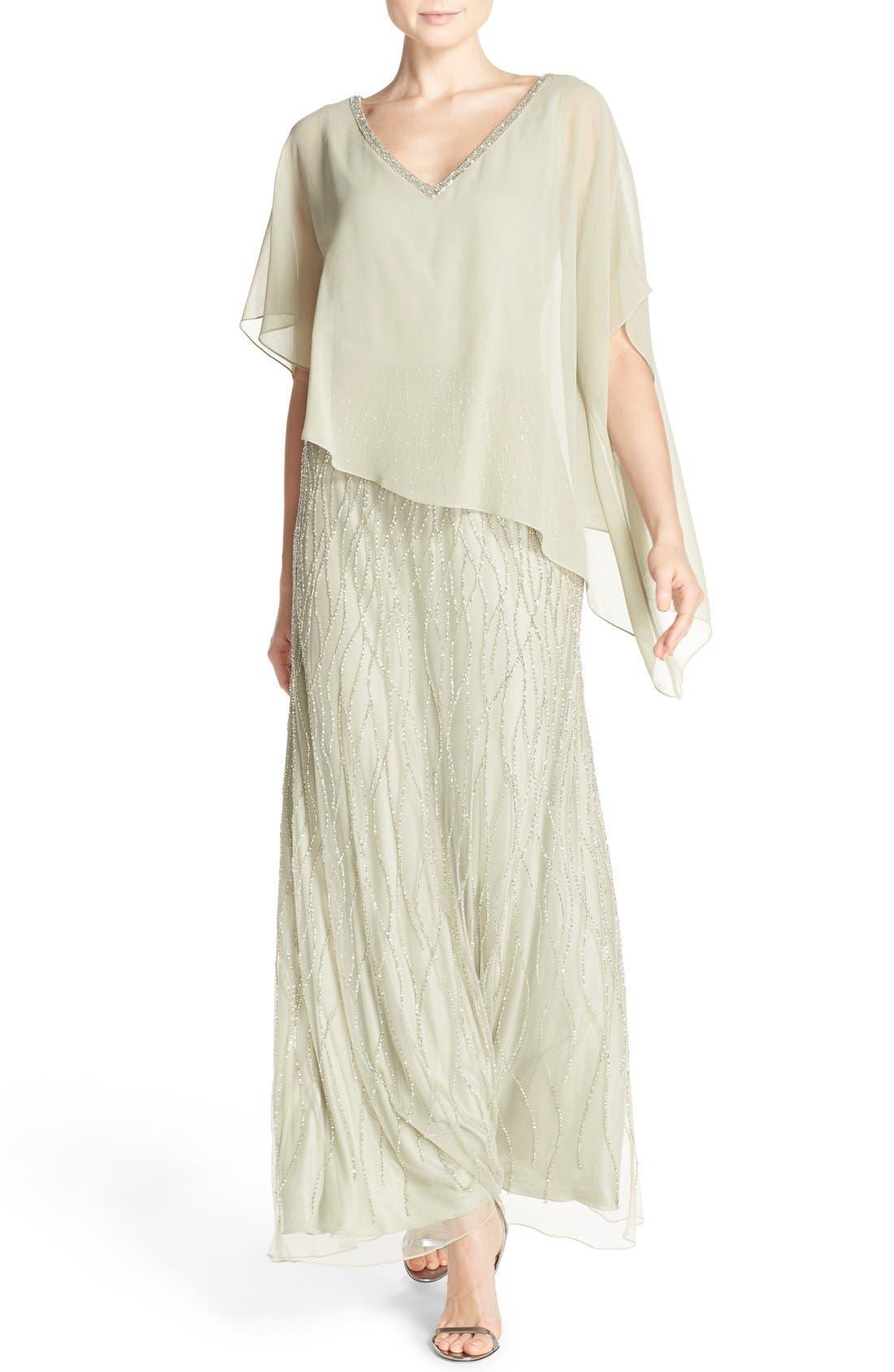 Main Image - J Kara Chiffon Overlay Beaded Gown