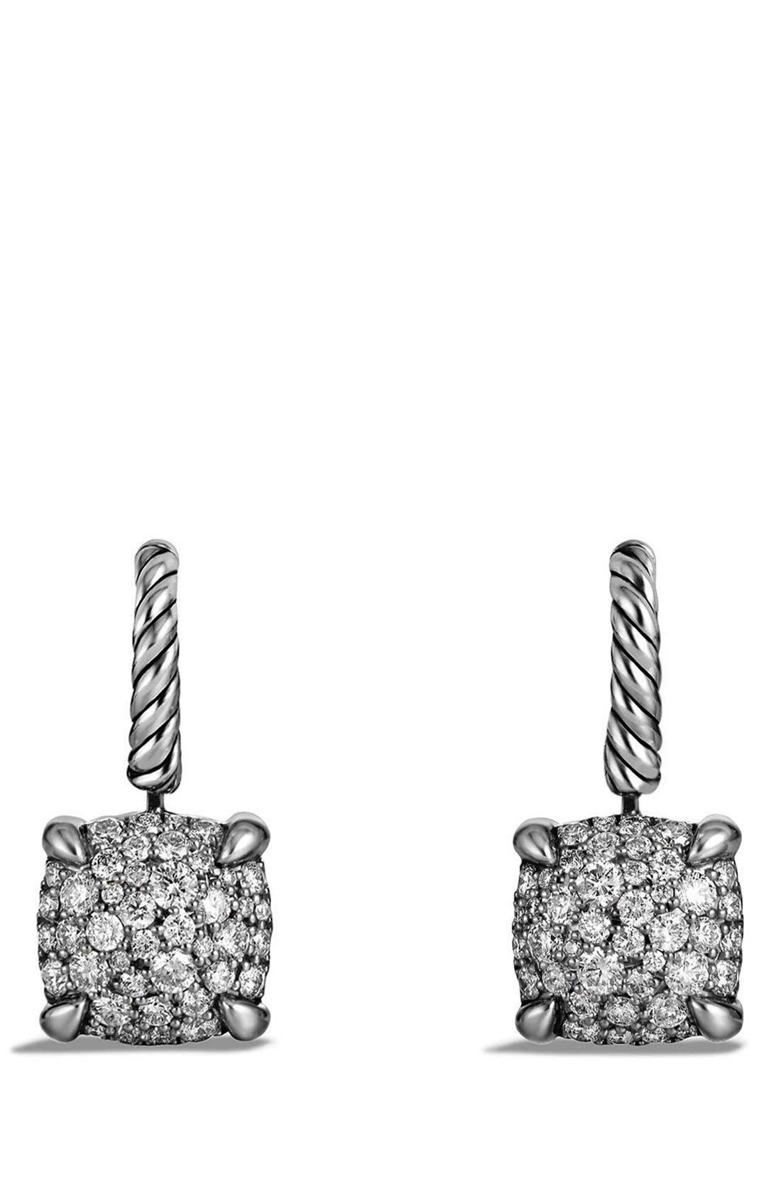 'Châtelaine' Drop Earrings with Diamonds,                             Main thumbnail 1, color,                             Silver